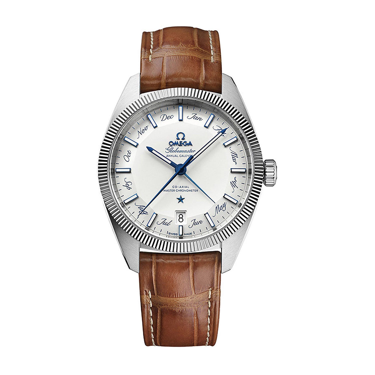 Omega Constellation Globemaster Annual Calendar Automatic silver dial men's brown leather strap watch