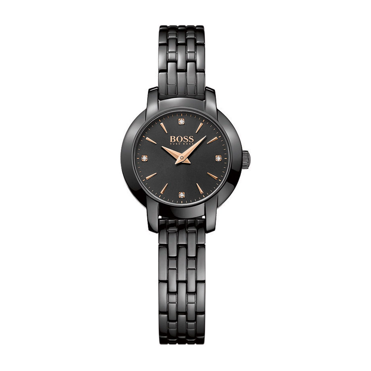 Hugo Boss Success ladies' stone-set black ion-plated watch