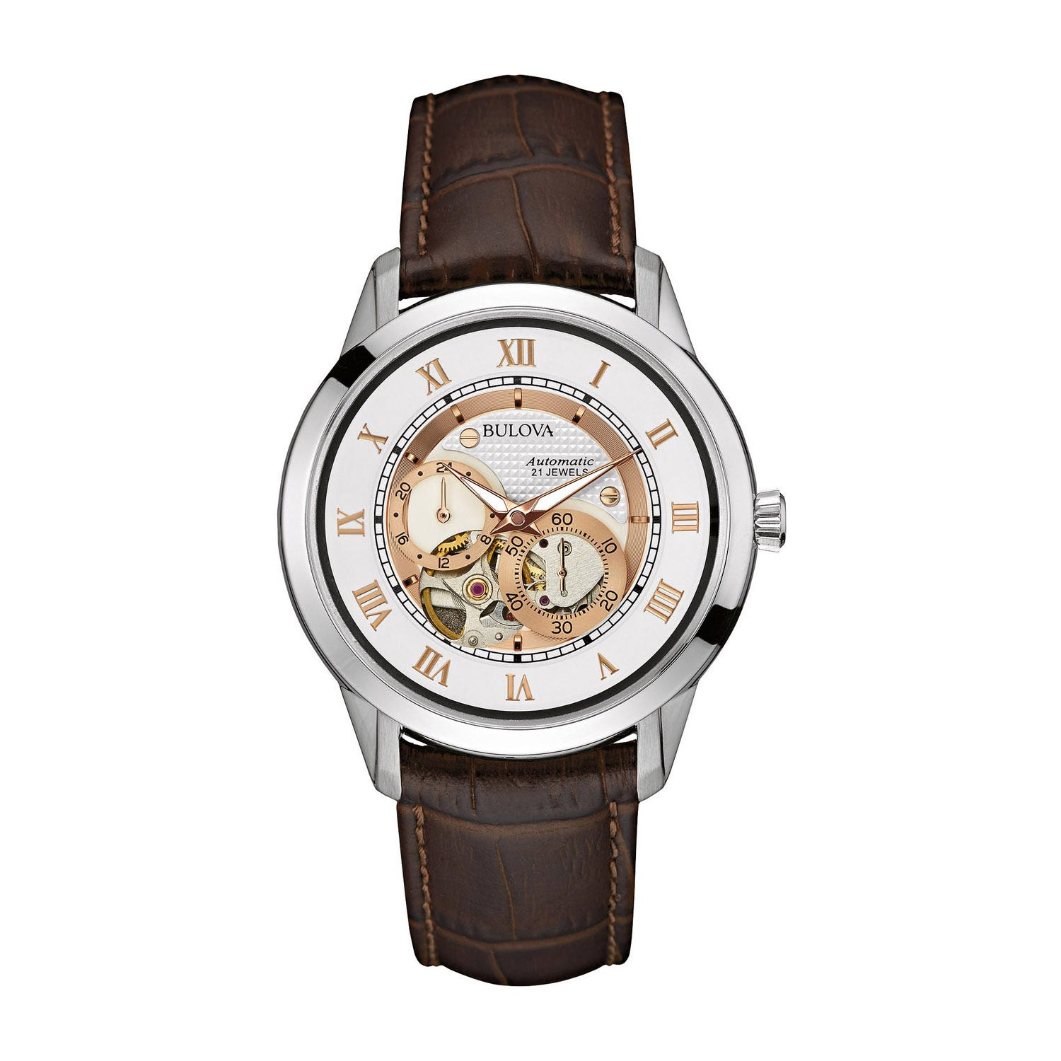 Bulova Automatic men's open dial brown leather strap watch