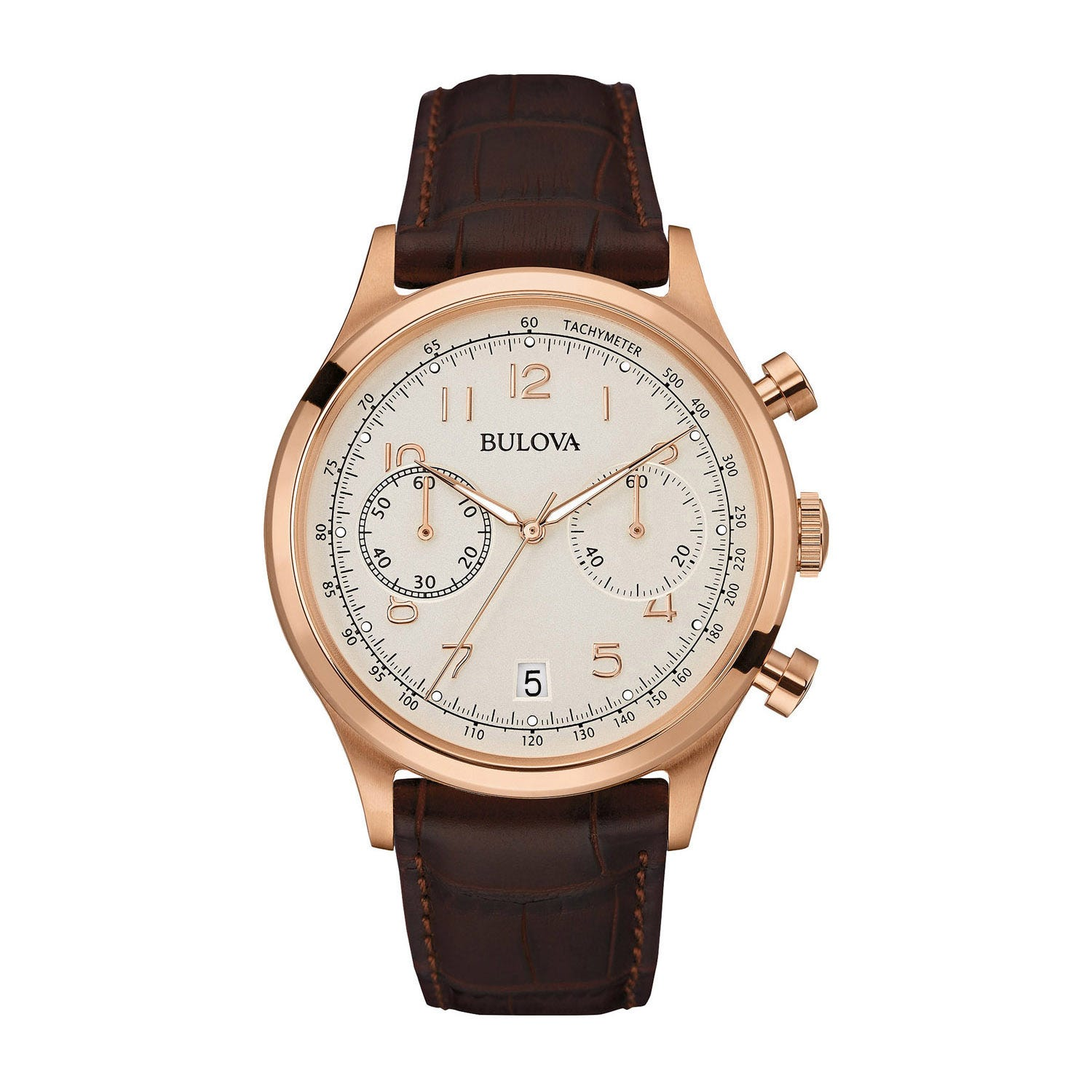Bulova Classic Vintage men's chronograph brown leather strap watch