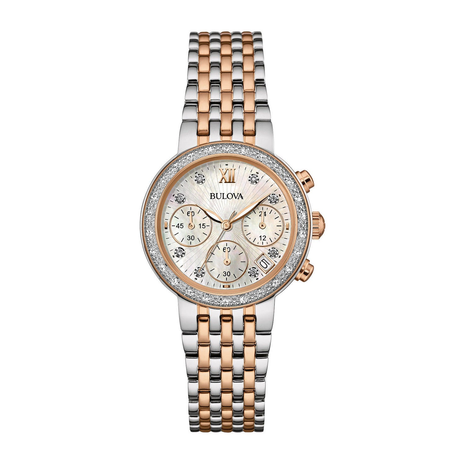 Bulova Diamonds ladies' chronograph rose gold-tone and stainless steel watch