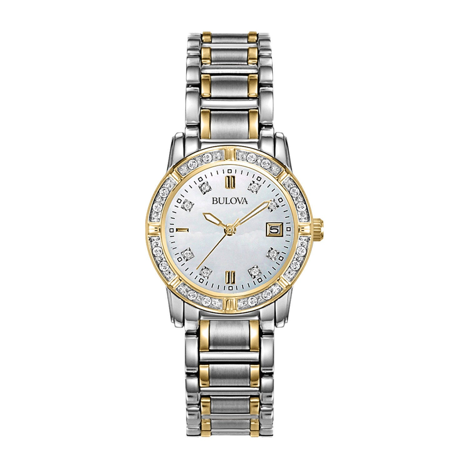 Bulova Diamonds ladies' diamond-dot and bezel gold-tone and stainless steel watch