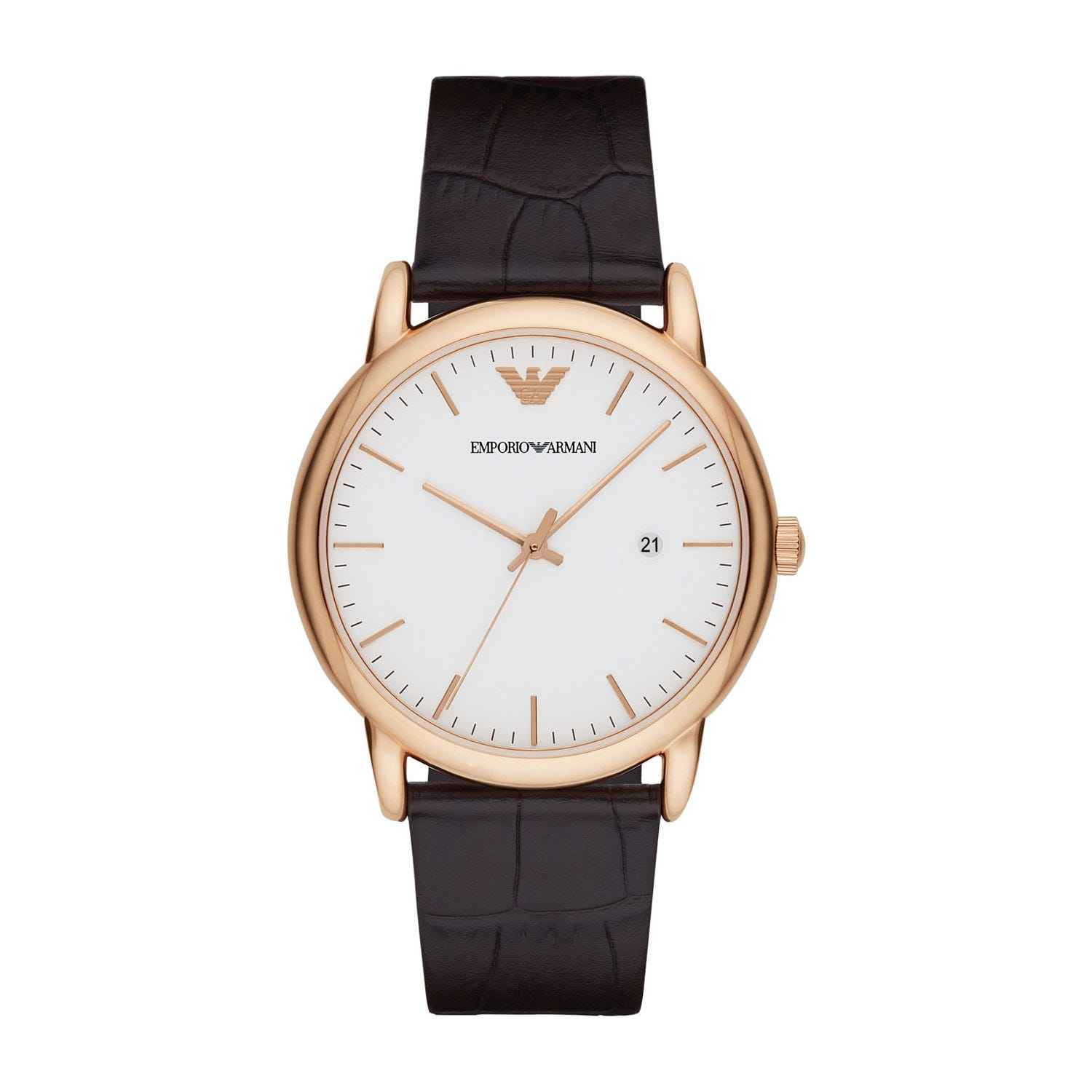 Emporio Armani Men's White Dial Rose Gold Brown Leather Strap Watch
