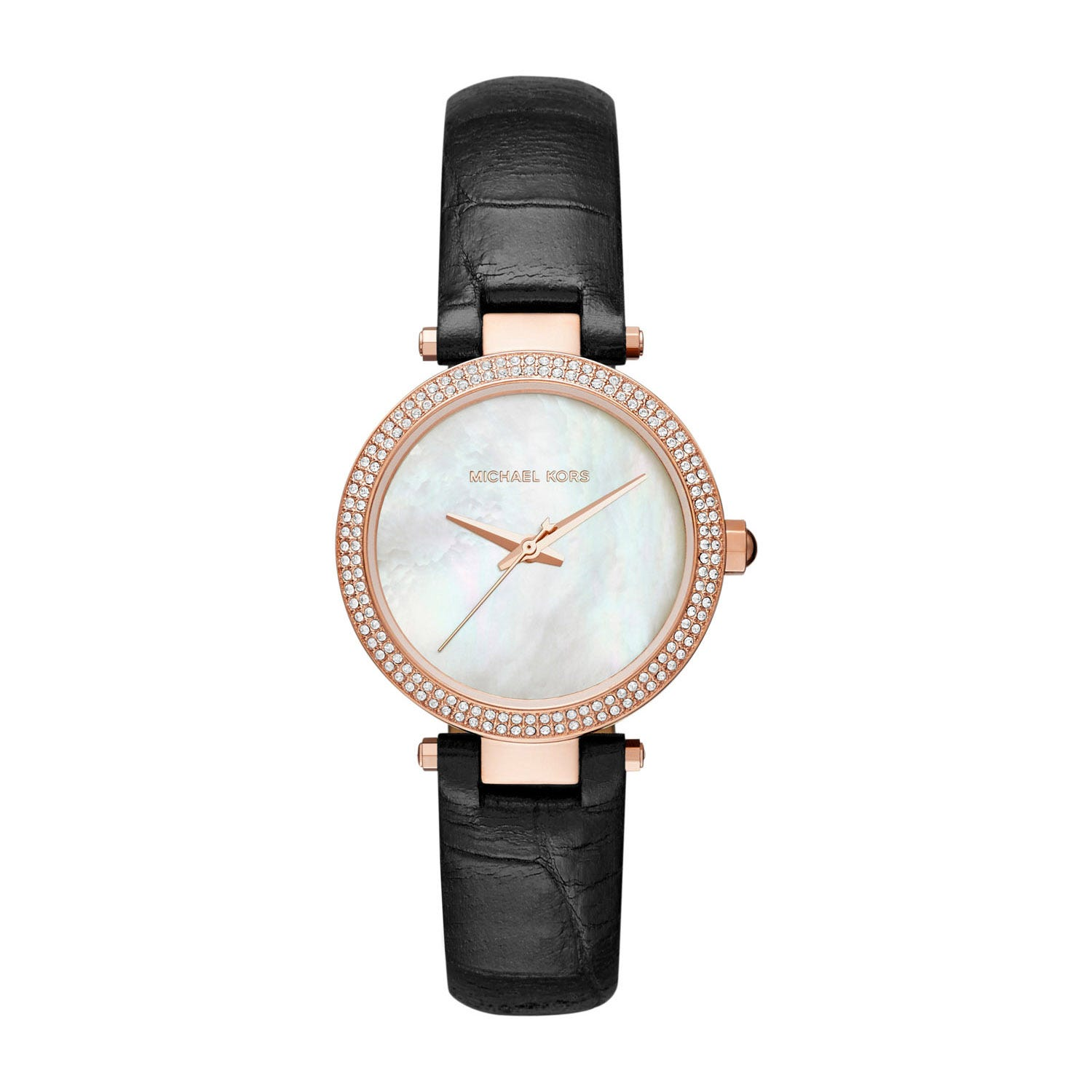 Michael Kors Mini Parker Ladies' Mother of Pearl Black Leather Strap Watch