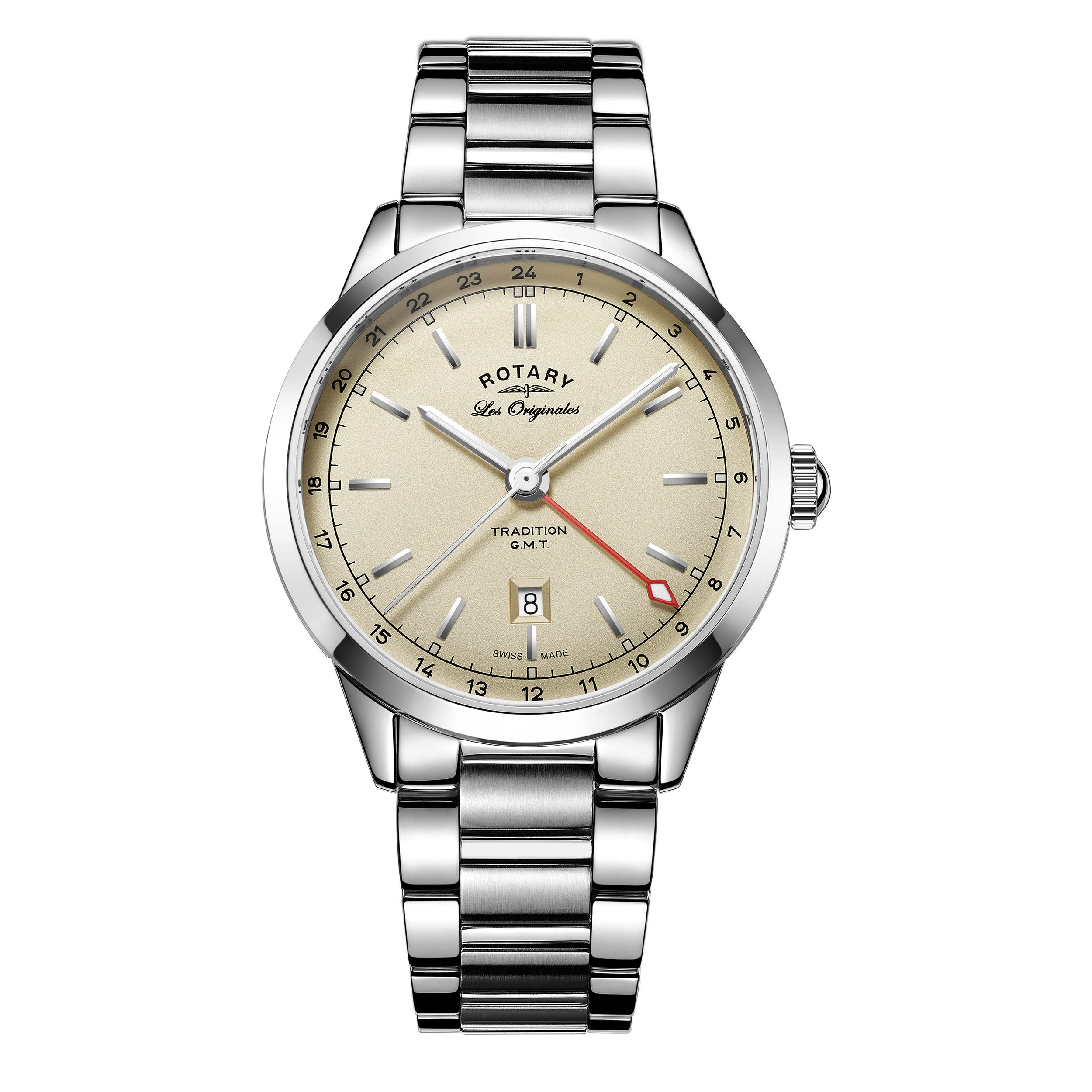Rotary Tradition Men's GMT Silver Dial Stainless Steel Bracelet Watch