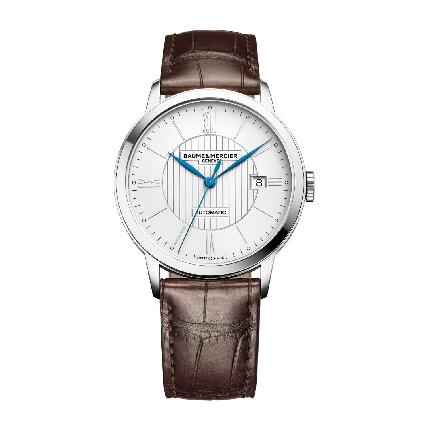 Baume & Mercier Classima Men's Silver Dial Brown Leather Strap Watch