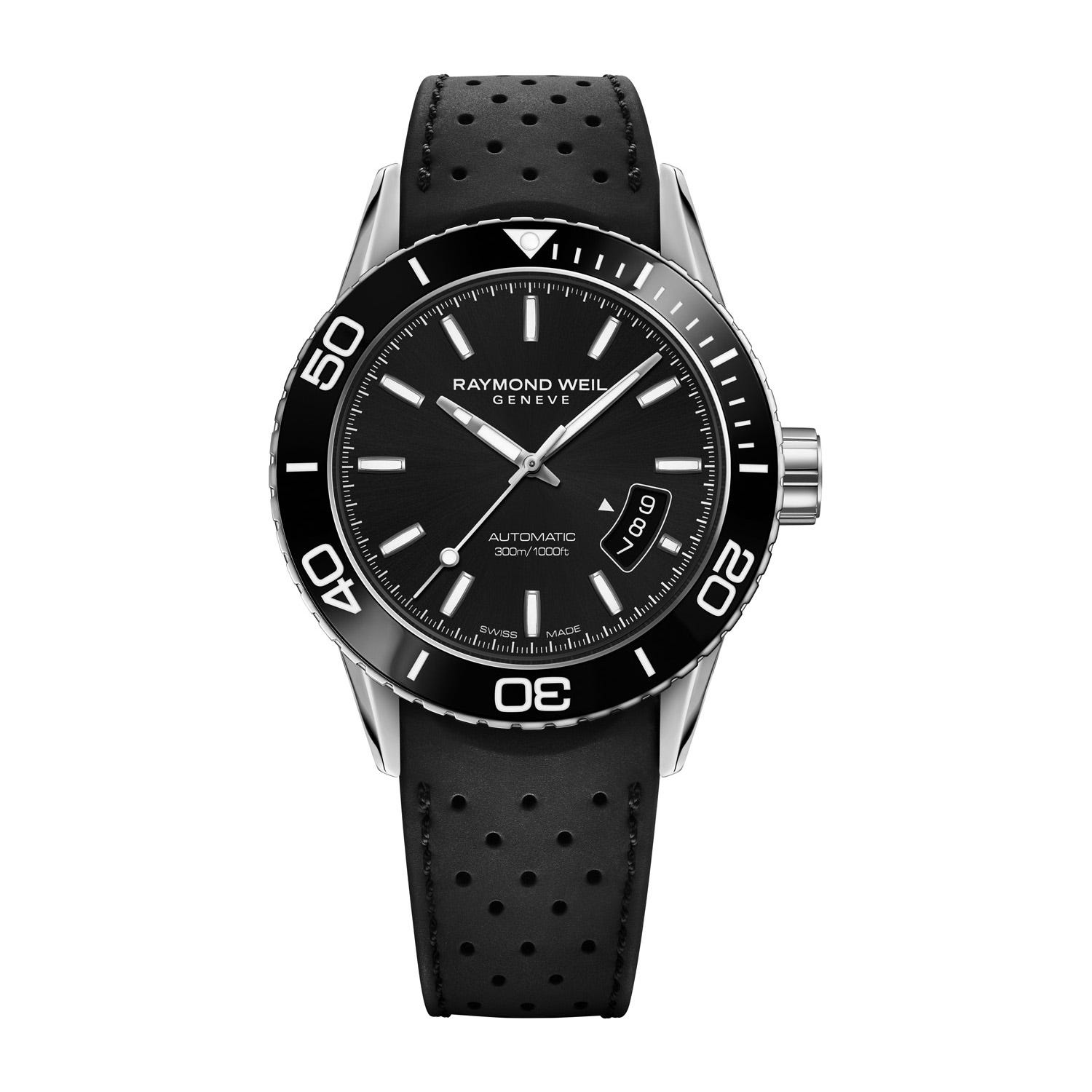 Raymond Weil Freelancer Men's Automatic Date Black Dial Rubber Strap Watch