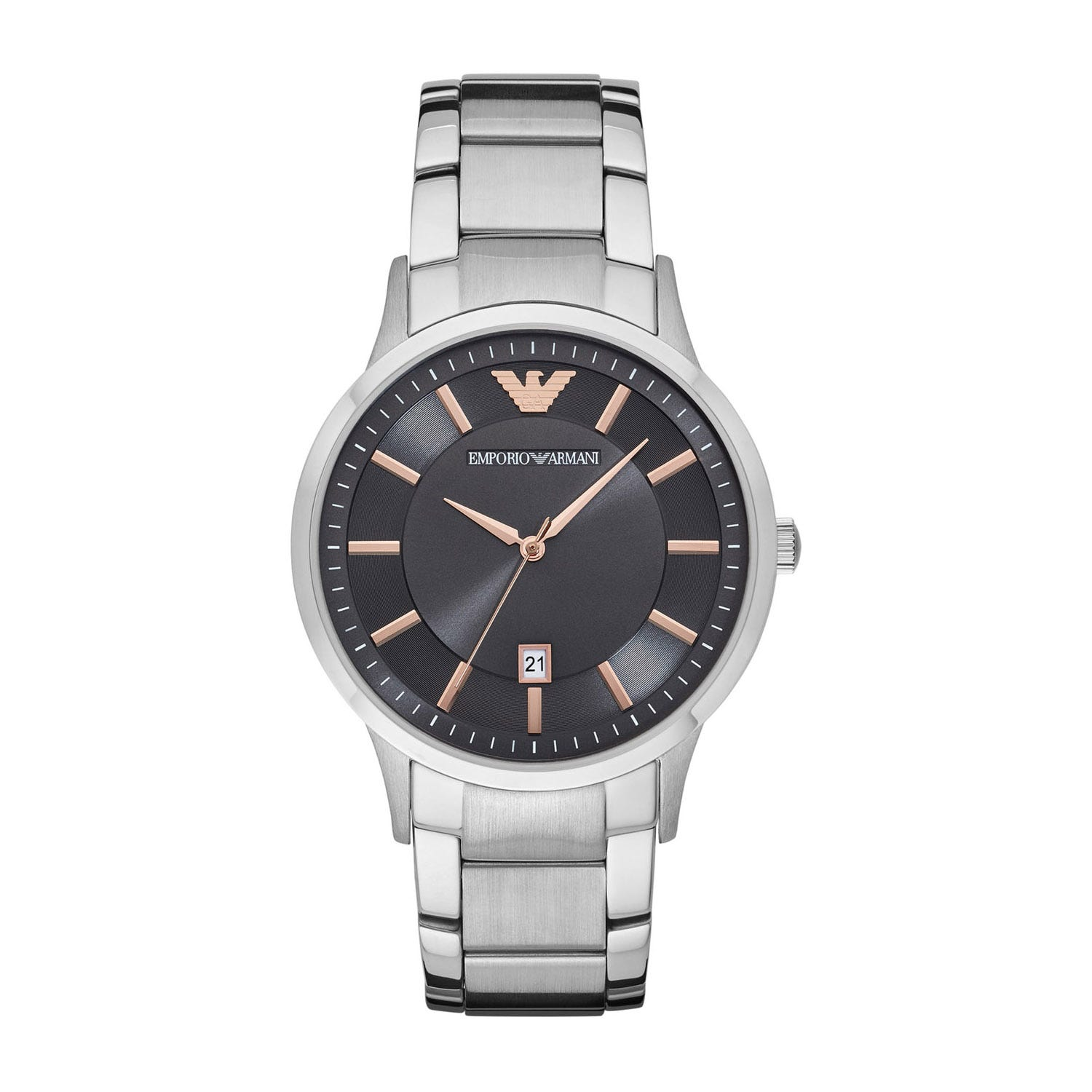 Emporio Armani Men's Grey Dial Stainless Steel Bracelet Watch