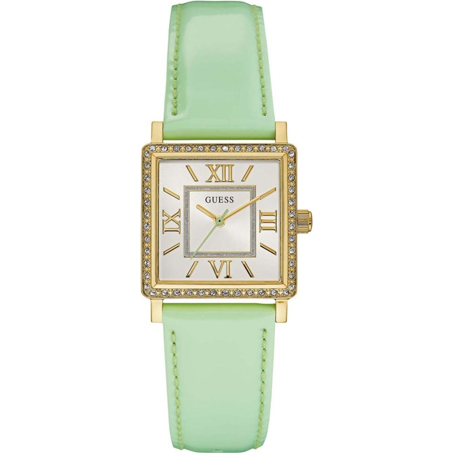 Guess Sterling Silver Highline Mother Of Pearl Dial Cubic Zirconia Bezel Lime Strap Watch