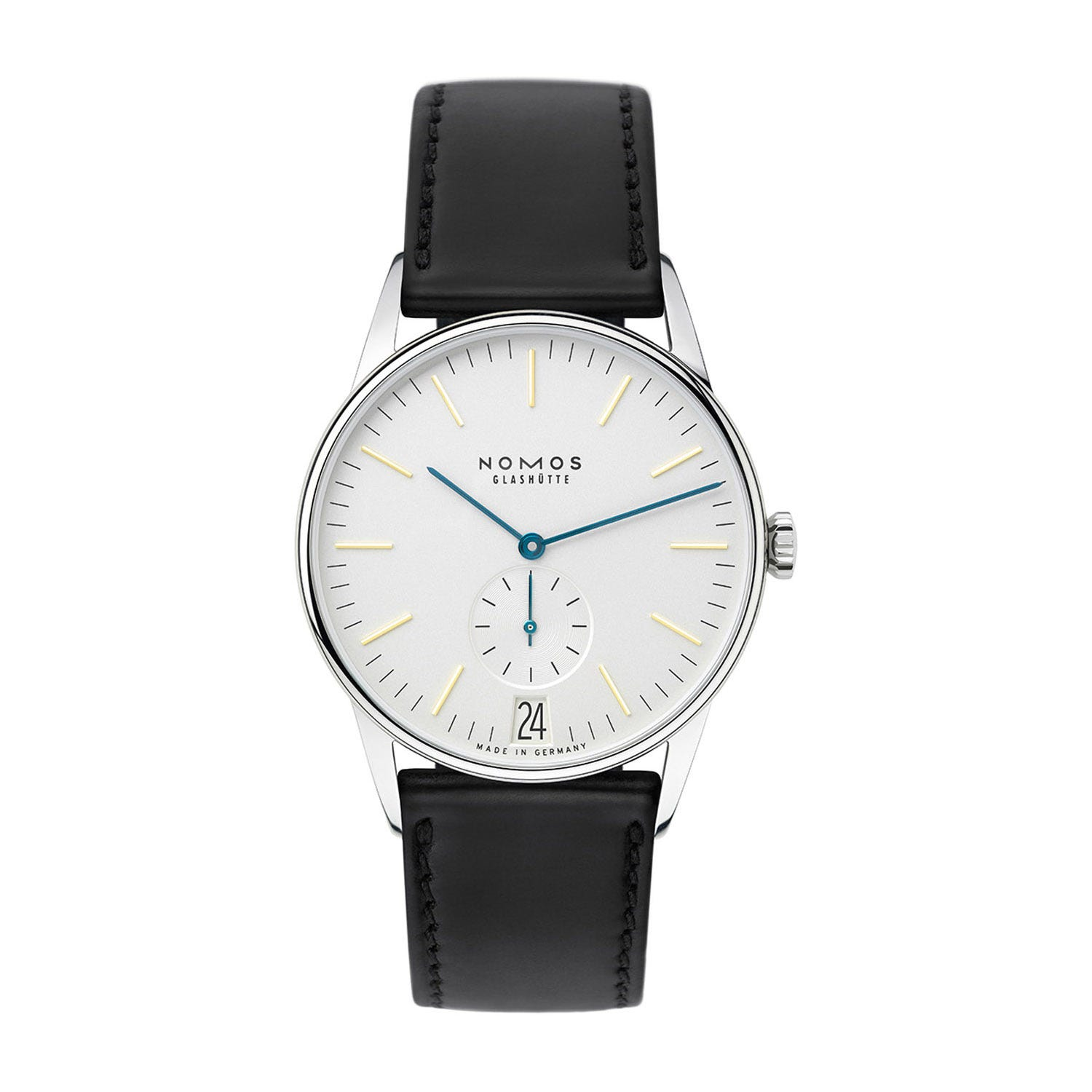NOMOS Glashutte Orion 38mm White Dial Black Leather Unisex Watch