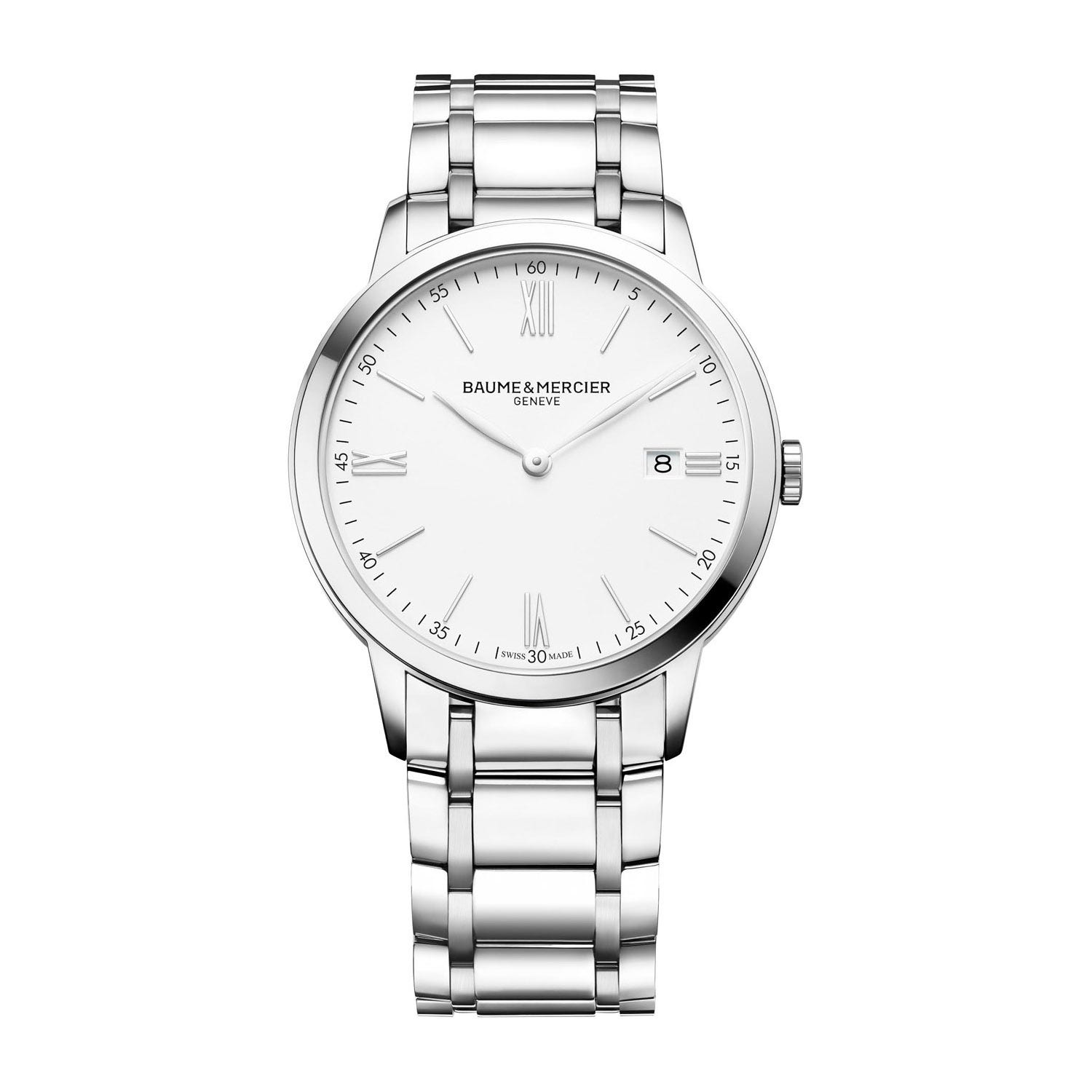 Baume & Mercier Classima White Dial Steel Bracelet Men's Watch