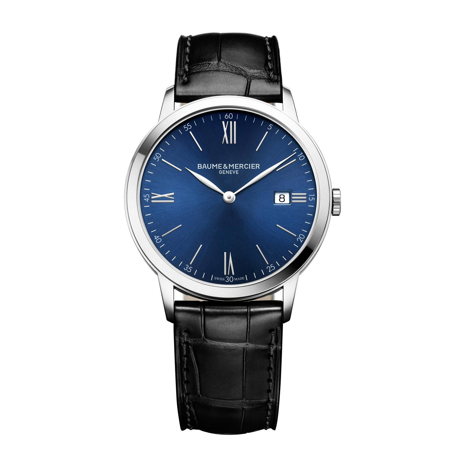 Baume & Mercier Classima Blue Dial Black Leather Men's Watch