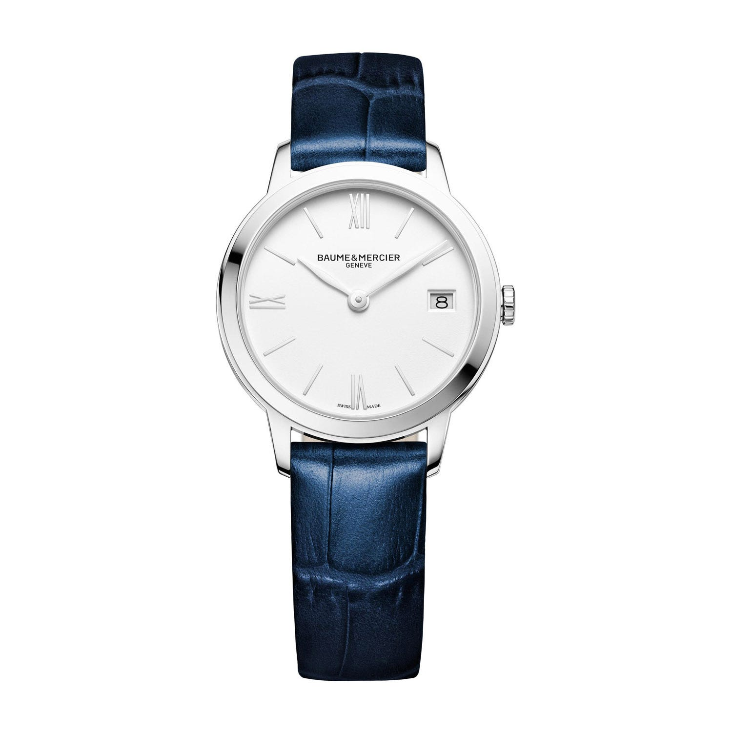 Baume & Mercier Classima White Dial Blue Leather Ladies' Watch