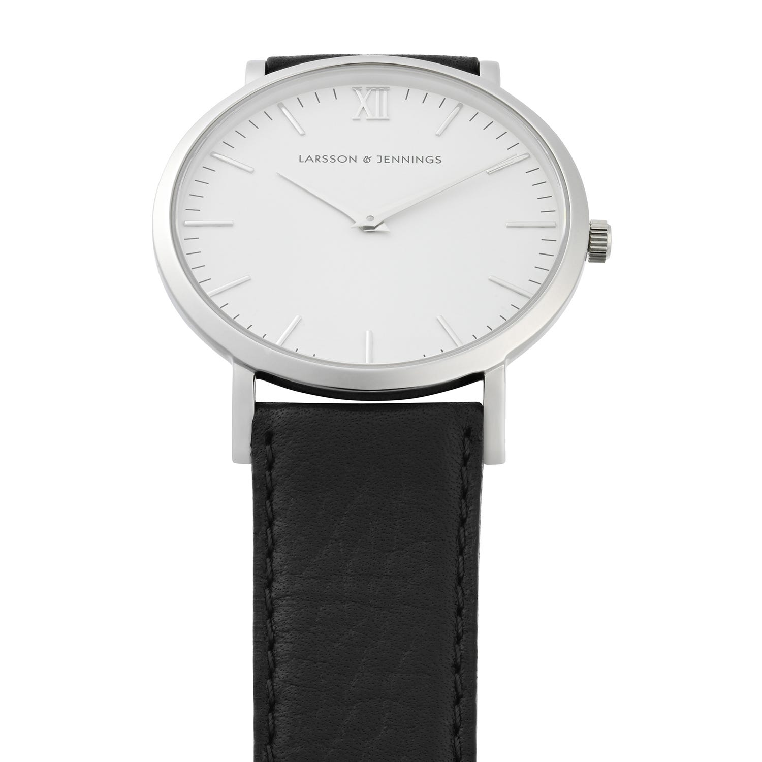 Larsson & Jennings 40mm Lugano Black Leather and Stainless Steel Watch