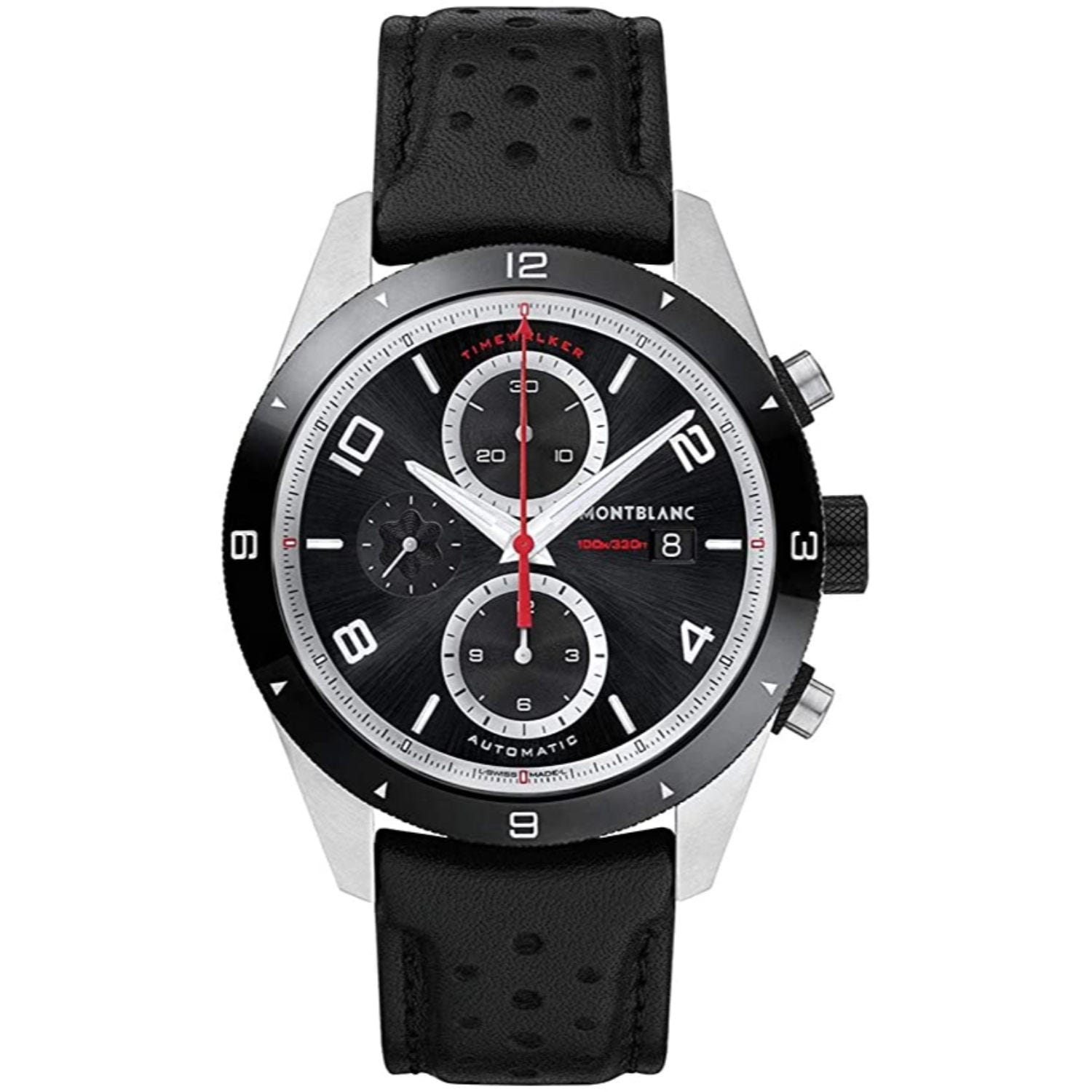 Montblanc Timewalker 43mm Black Chrono Dial Black Strap Watch