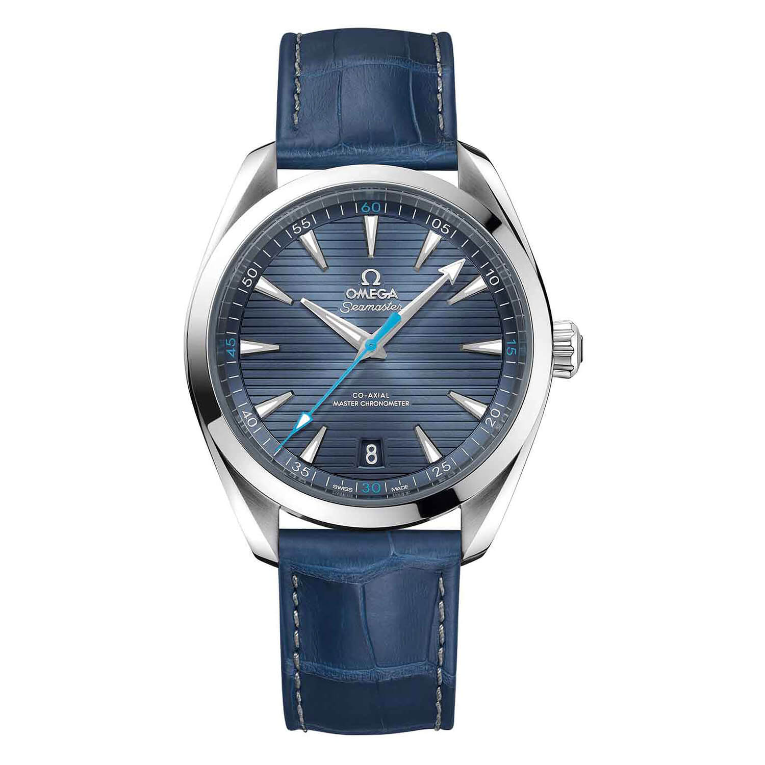 Omega Seamaster Automatic Stainless Blue Leather Strap Men's Watch