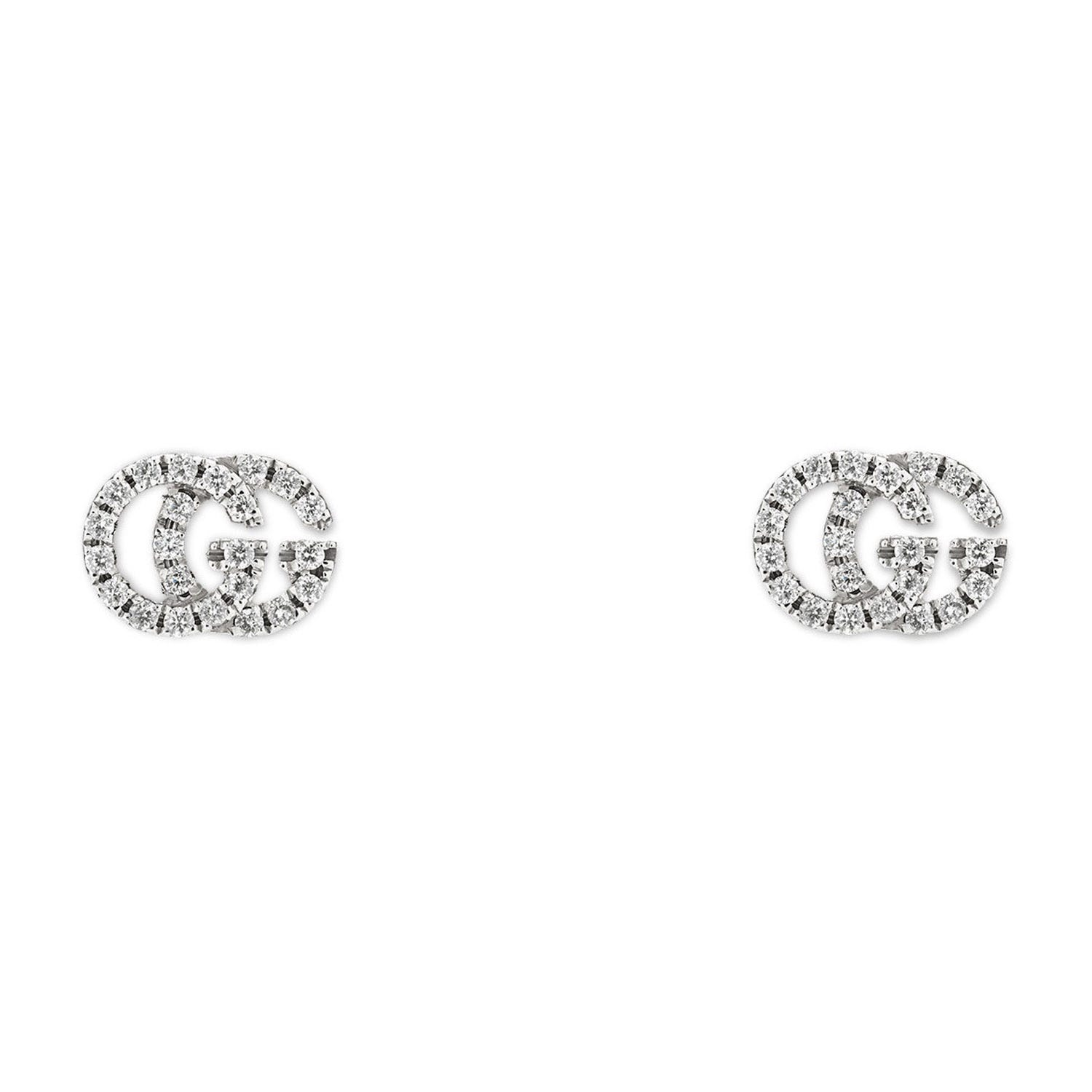 Gucci GG Running 18ct White Gold Diamond Stud Earrings