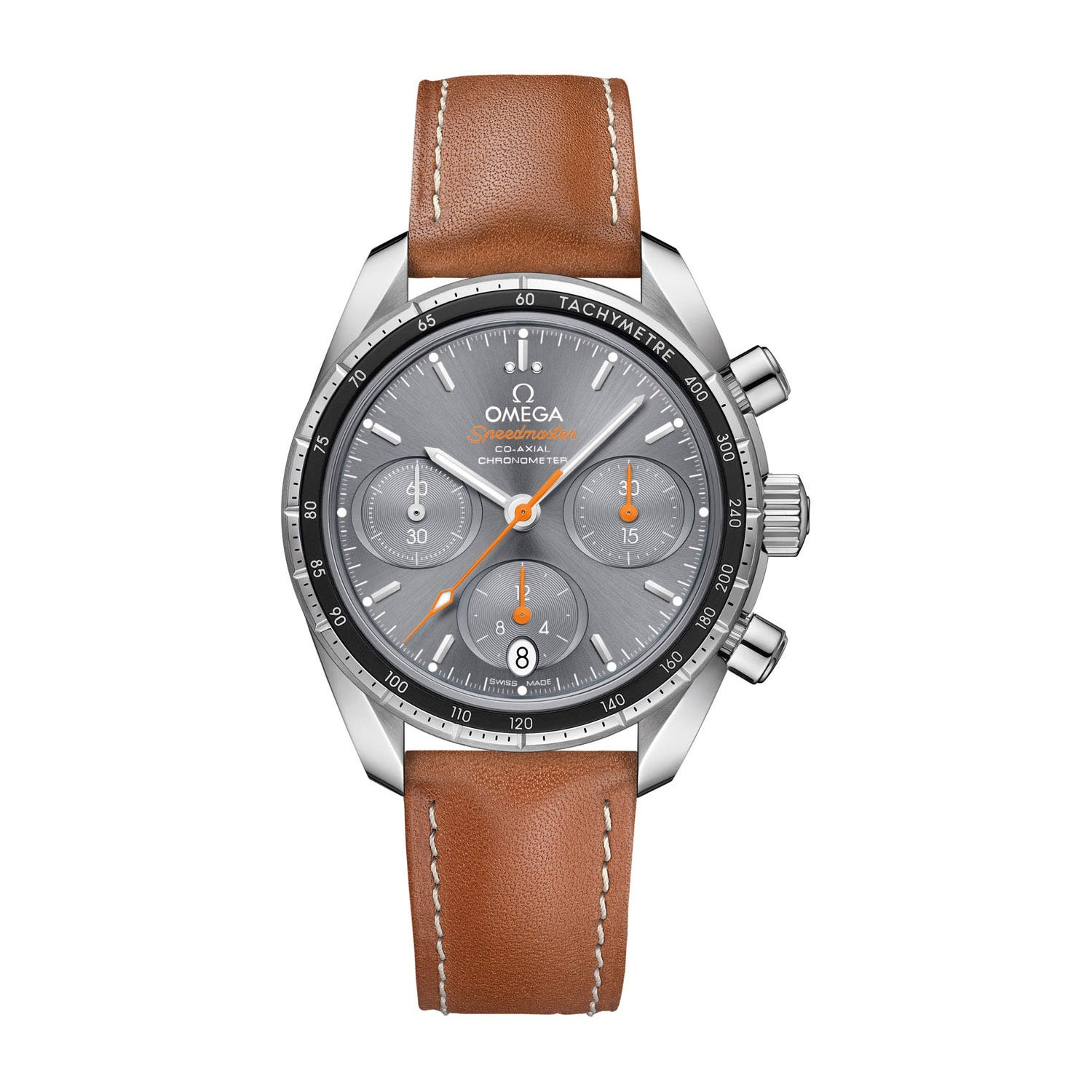 Omega Speedmaster Co-Axial Chronograph Brown Leather Strap Men's Watch