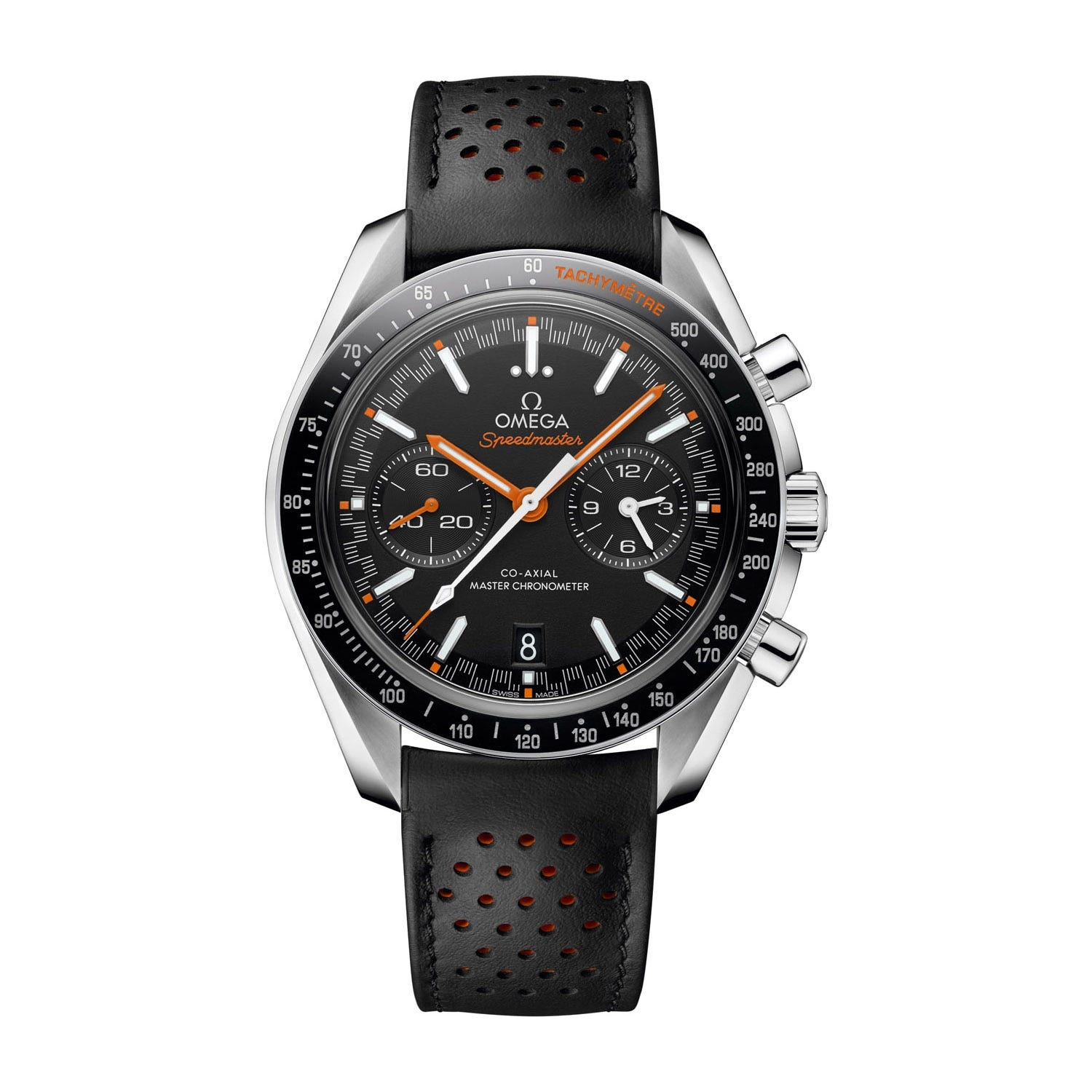 Omega Speedmaster Racing Co-Axial Master Chronograph Black Leather Strap Men's Watch