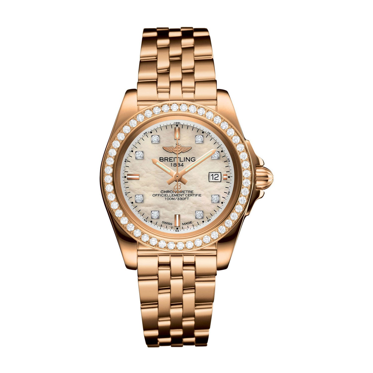Breitling Galactic 32 Sleek Edition Rose Gold Diamond Pearl Diamond Bracelet Watch