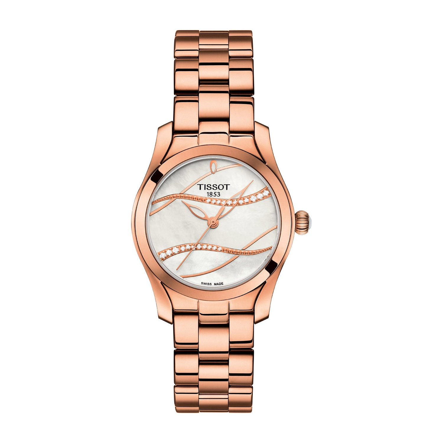 Tissot T-Wave Rose Gold Plated White Mother of Pearl Dial Ladies Watch