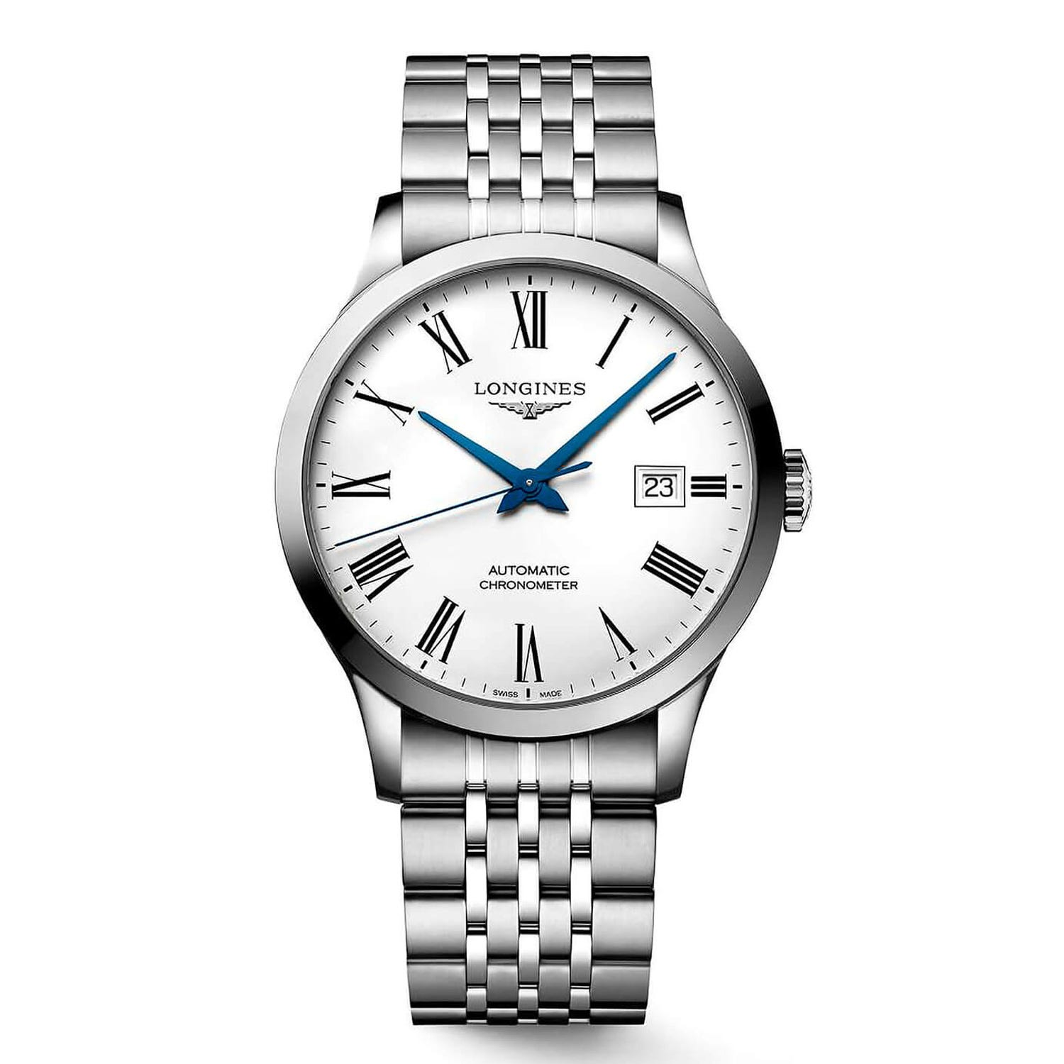 Longines Record White Dial Steel 40mm Men's Watch