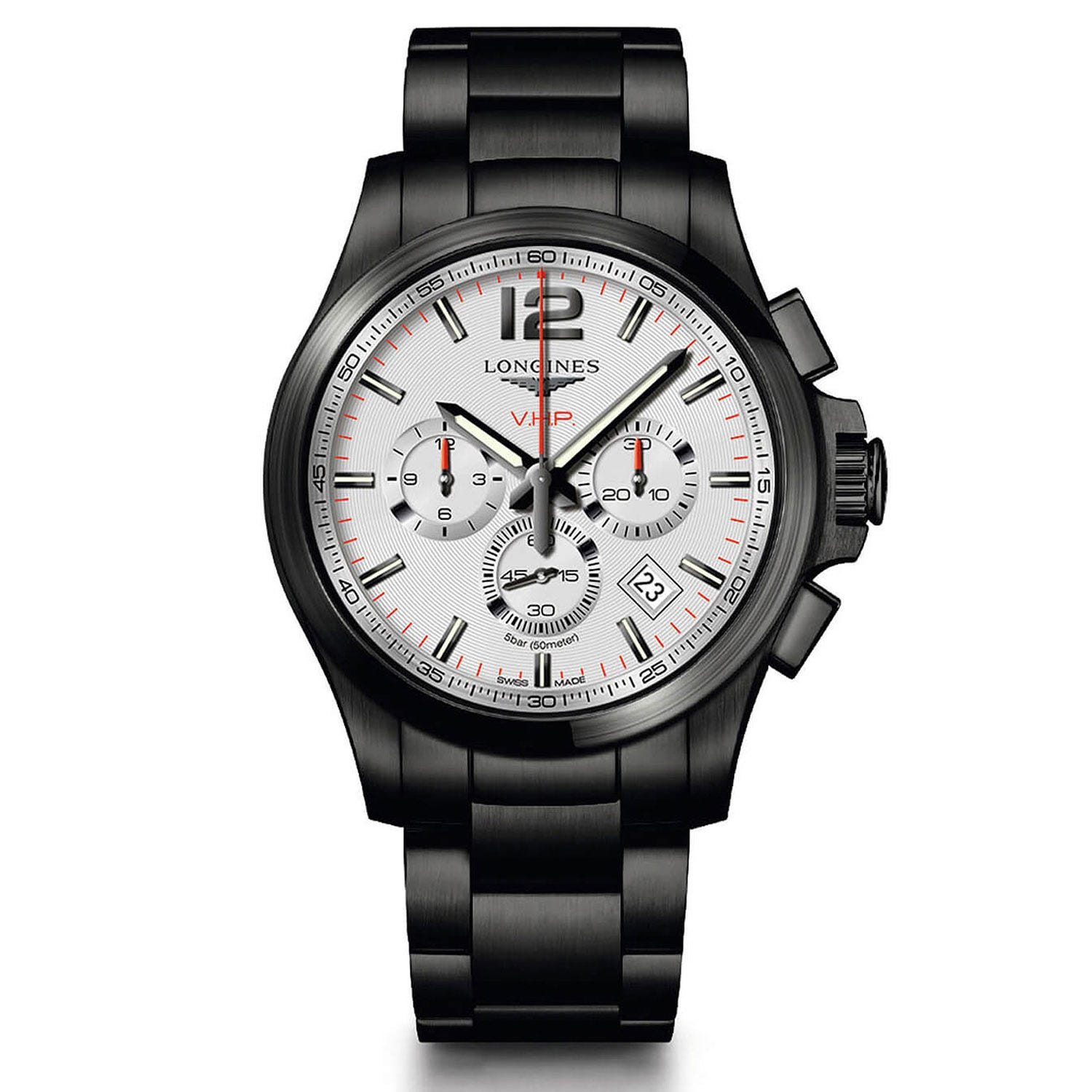 Longines Conquest V.H.P. White Dial Black Men's Watch