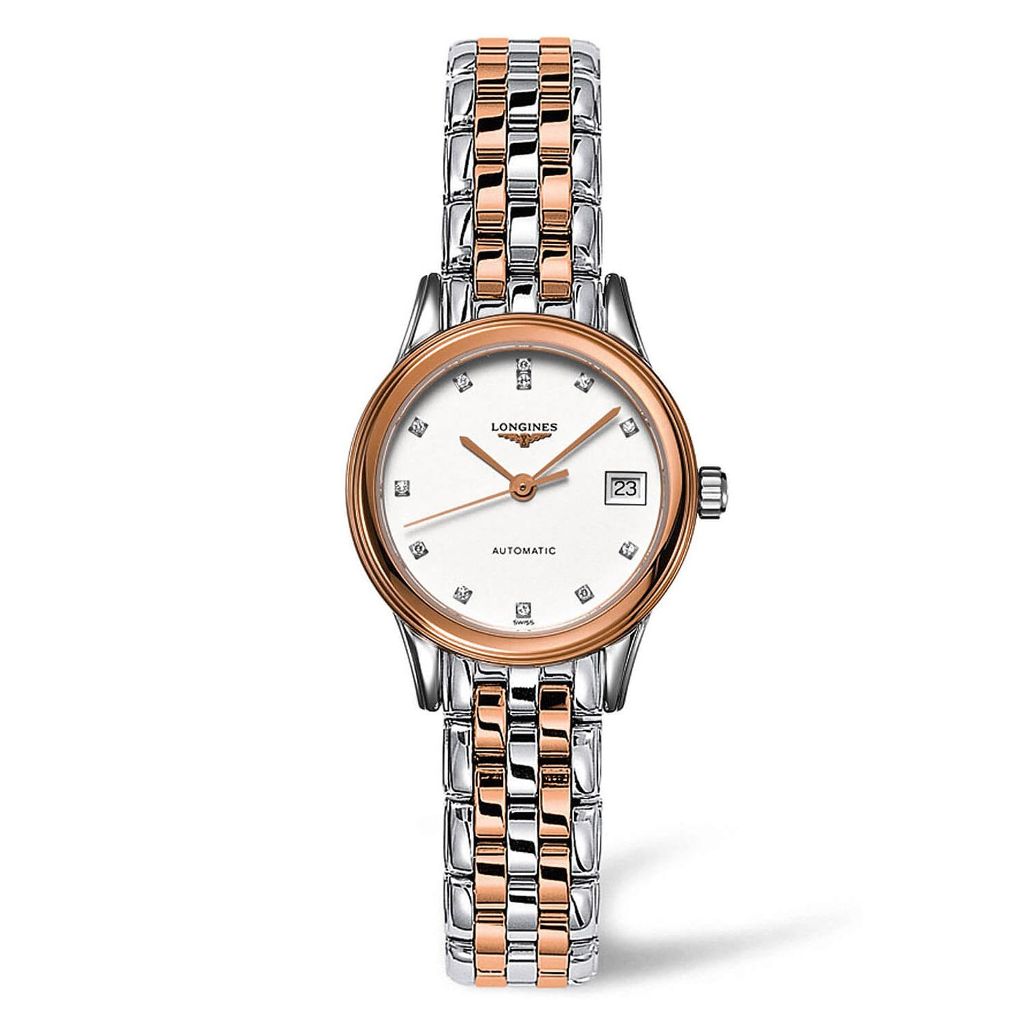 Longines Flagship Automatic Diamond Two Tone Bracelet Strap PVD Silver/Rose Gold Ladies Watch