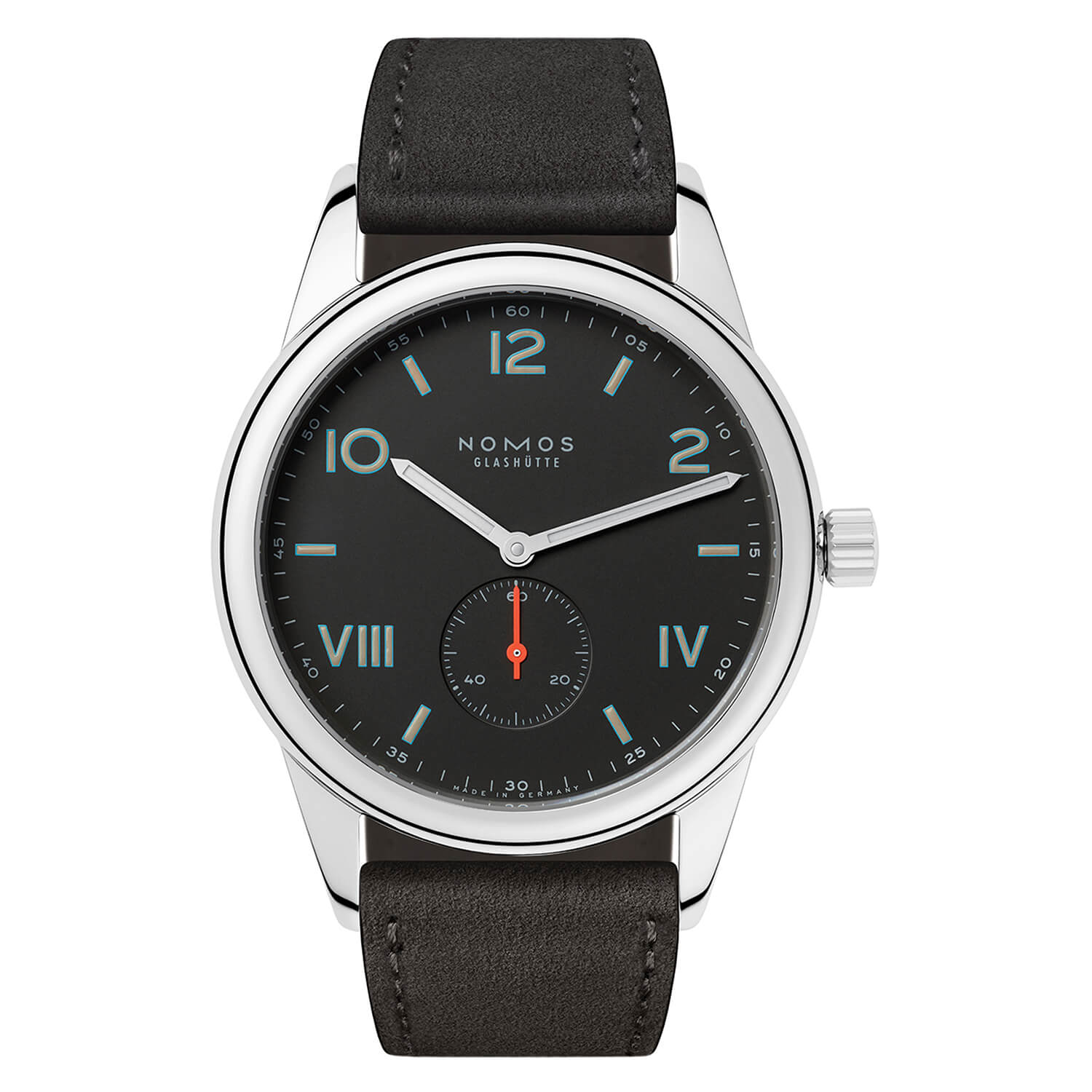 NOMOS Club Campus 38 Nacht Mens Anthracite Strap Watch