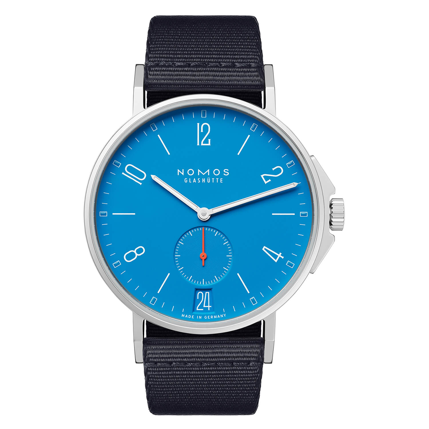 NOMOS Ahoi Date Siren Blue Mens Blue Black Strap Watch