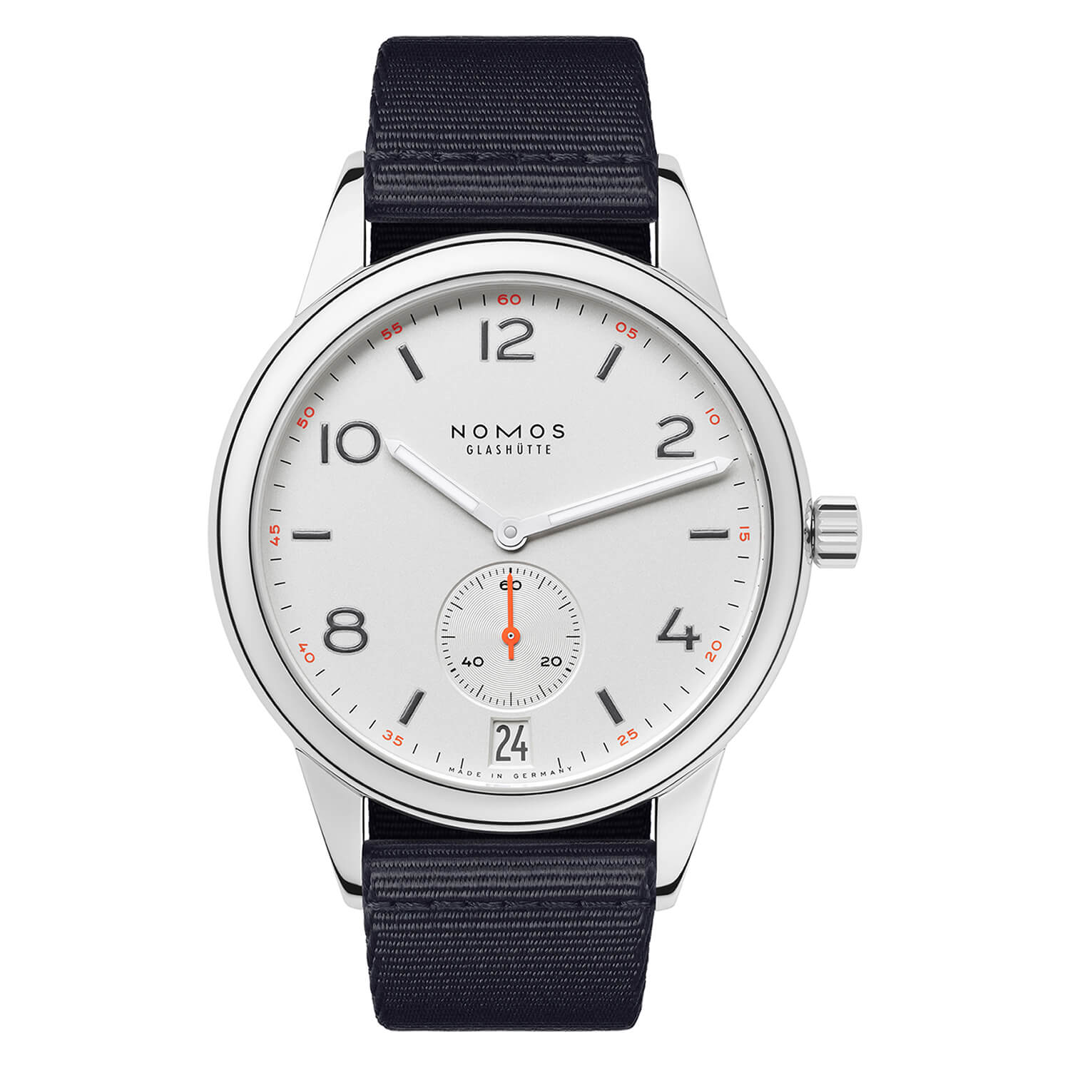 NOMOS Club Automatic Date Mens Blue-Black Strap Watch