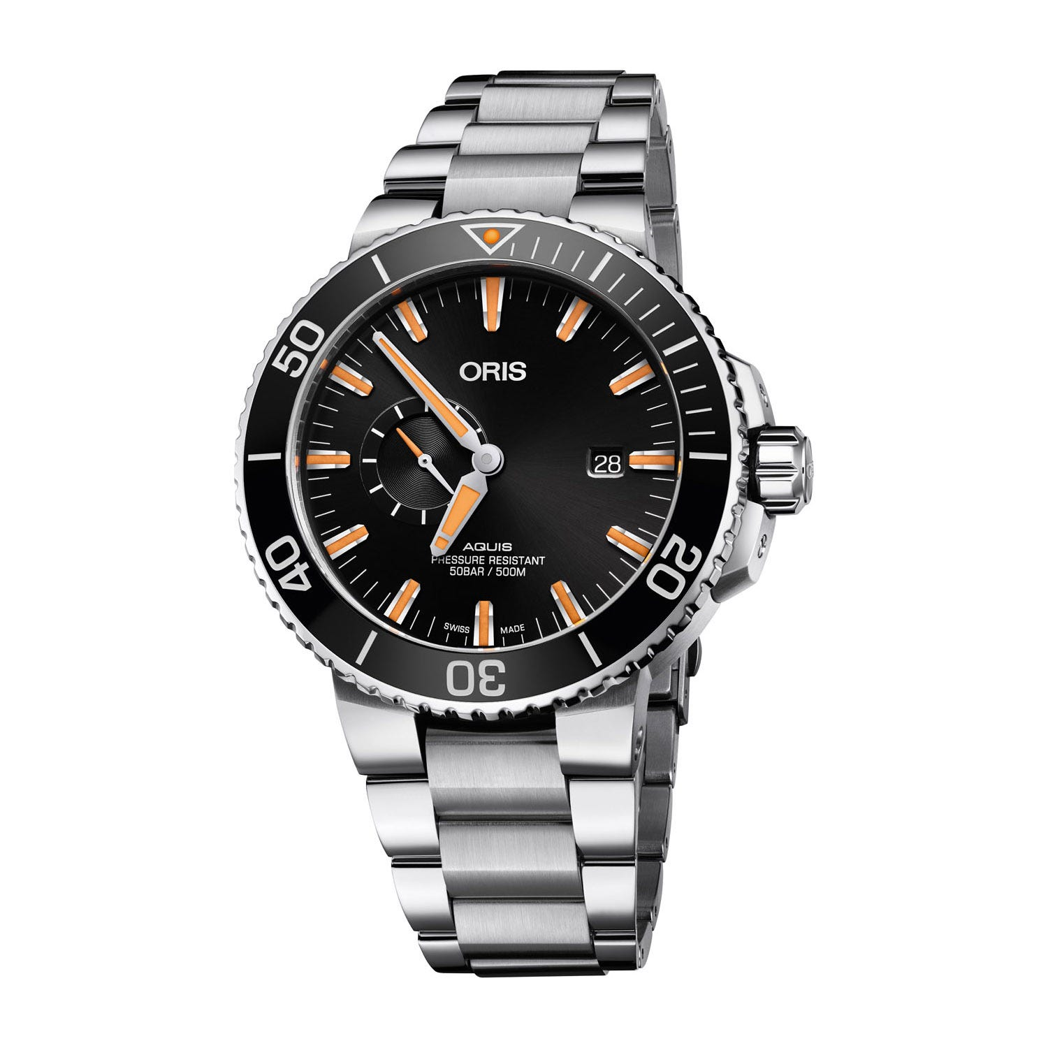 Oris Aquis Automatic Small Second Display Black Dial and Bezel Mens Watch