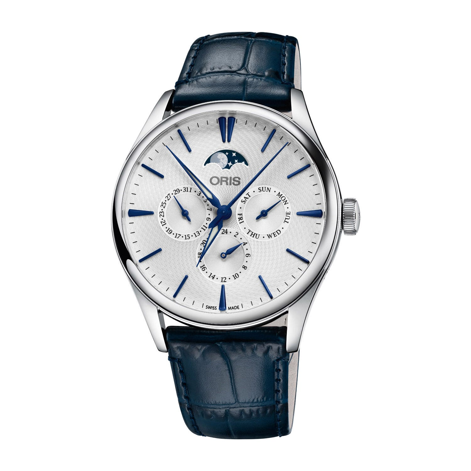 Oris Artelier Complication Automatic Blue Leather Strap Mens Watch