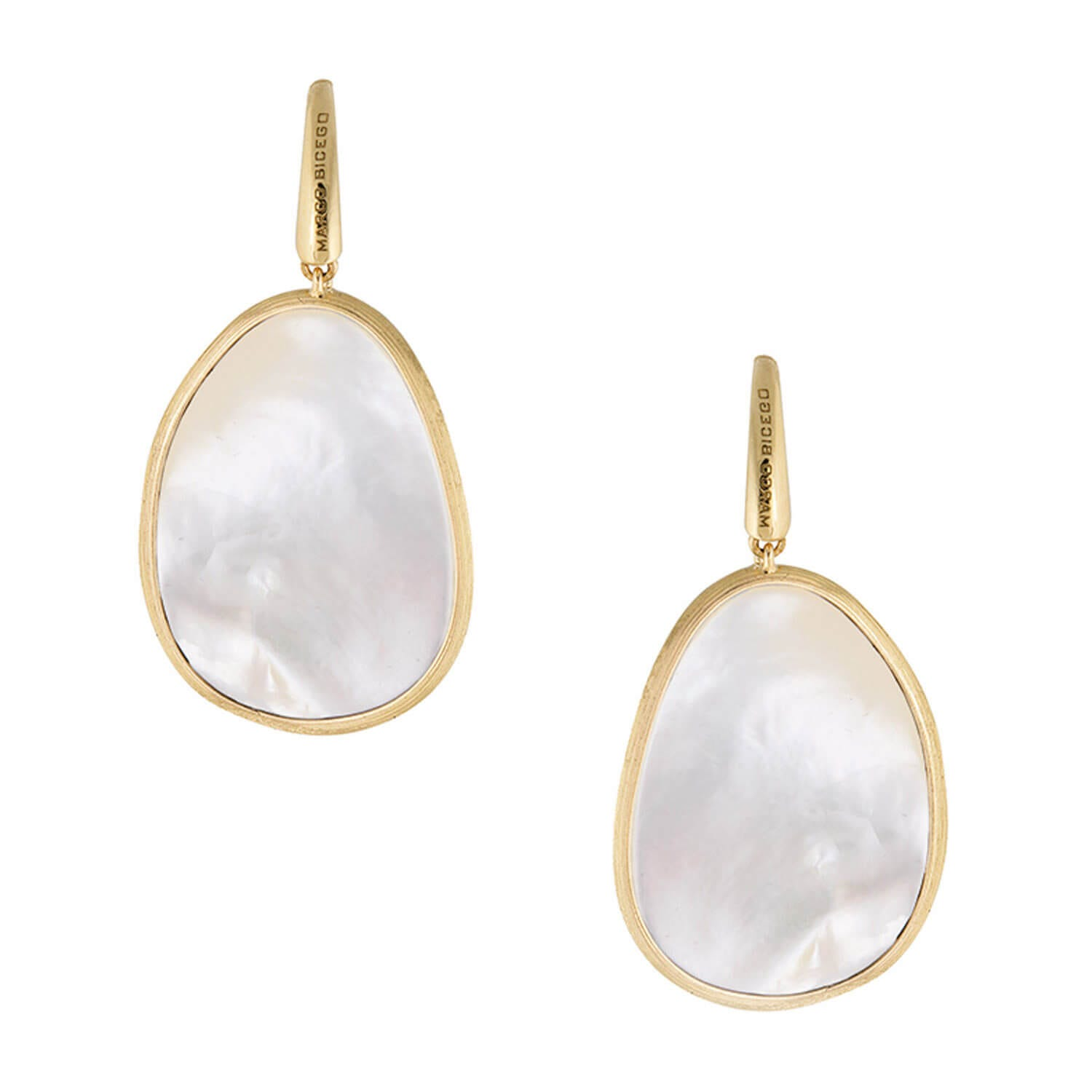 Marco Bicego Lunaria 18ct Yellow Gold with White Mother of Pearl Drop Earrings