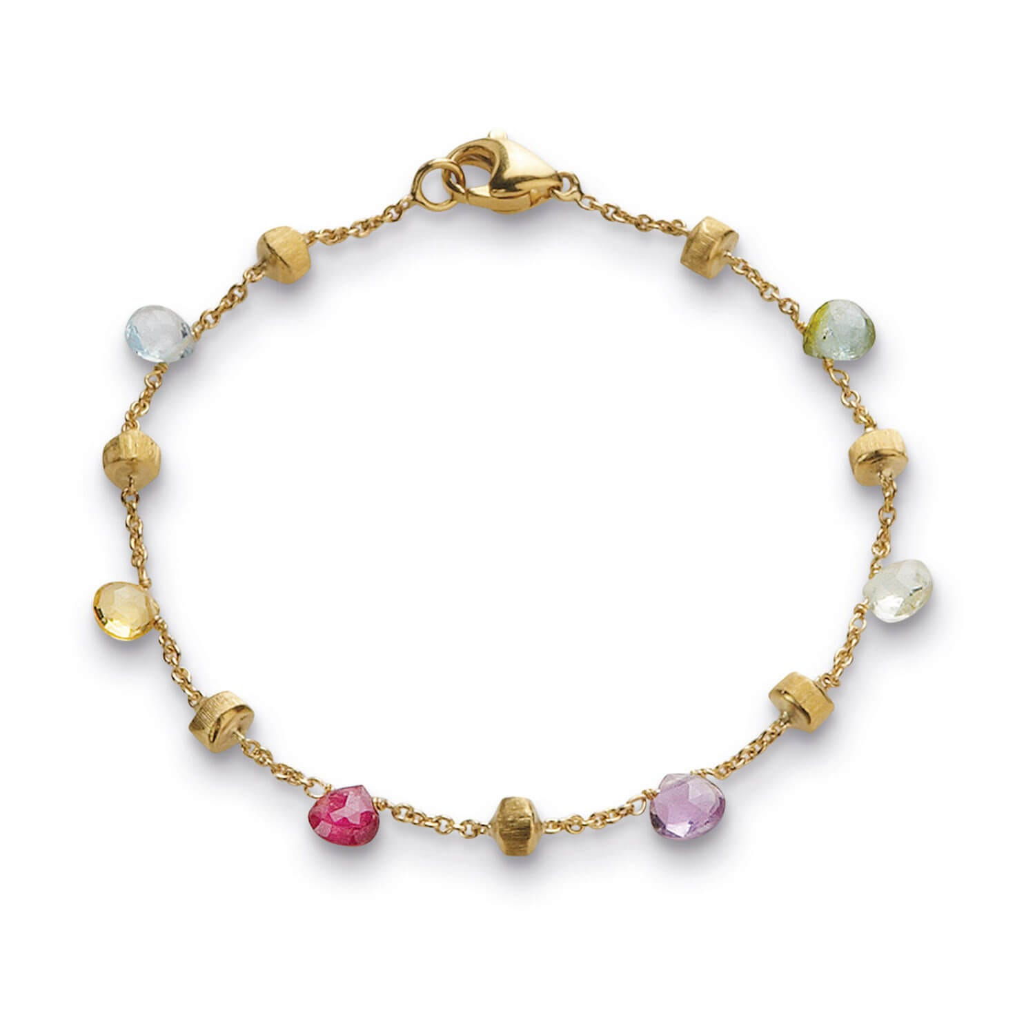 Marco Bicego Paradise 18ct Yellow Gold and Mixed Stone Single Strand Bracelet