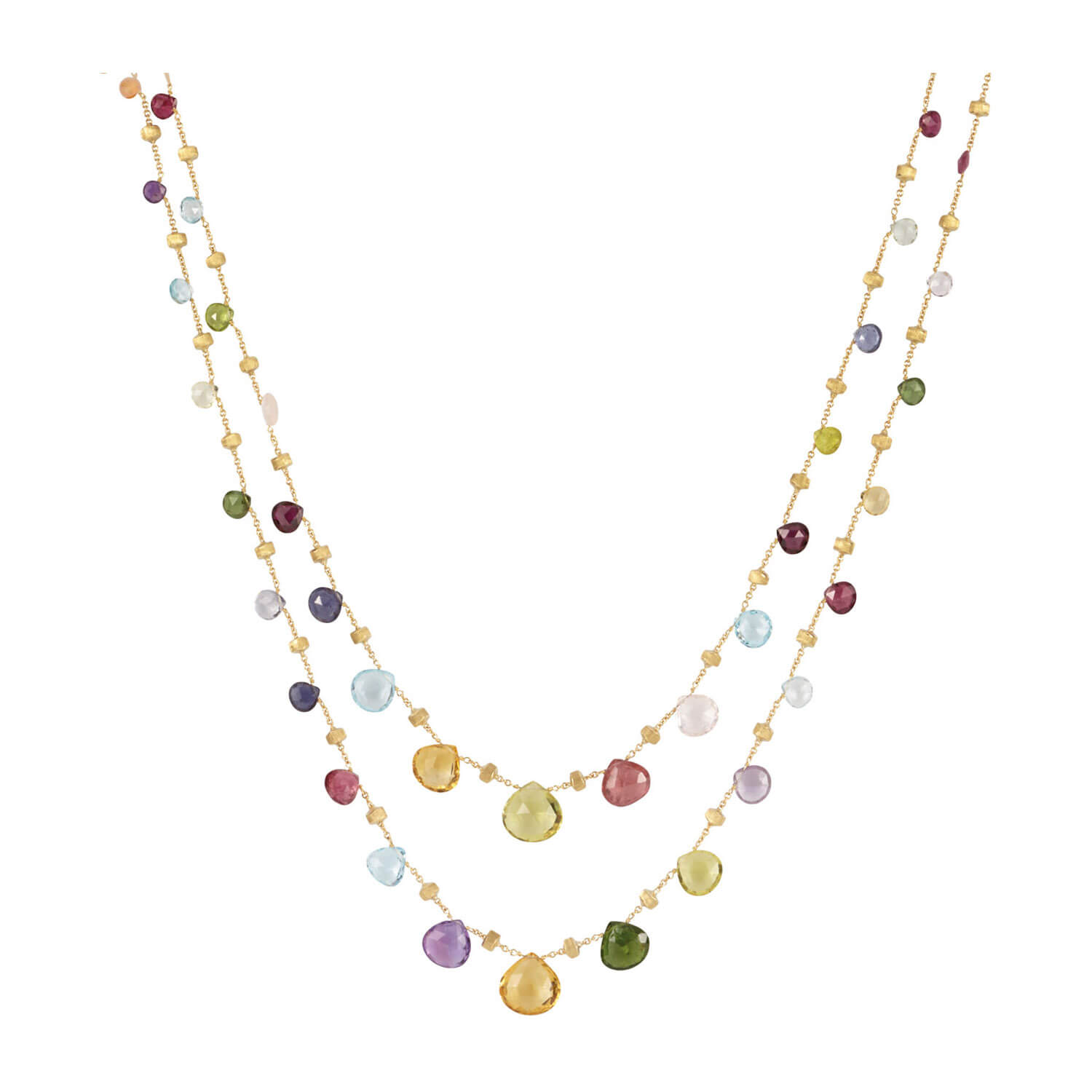 Marco Bicego Paradise 18ct Yellow Gold & Mixed Stone Graduated Long Necklace