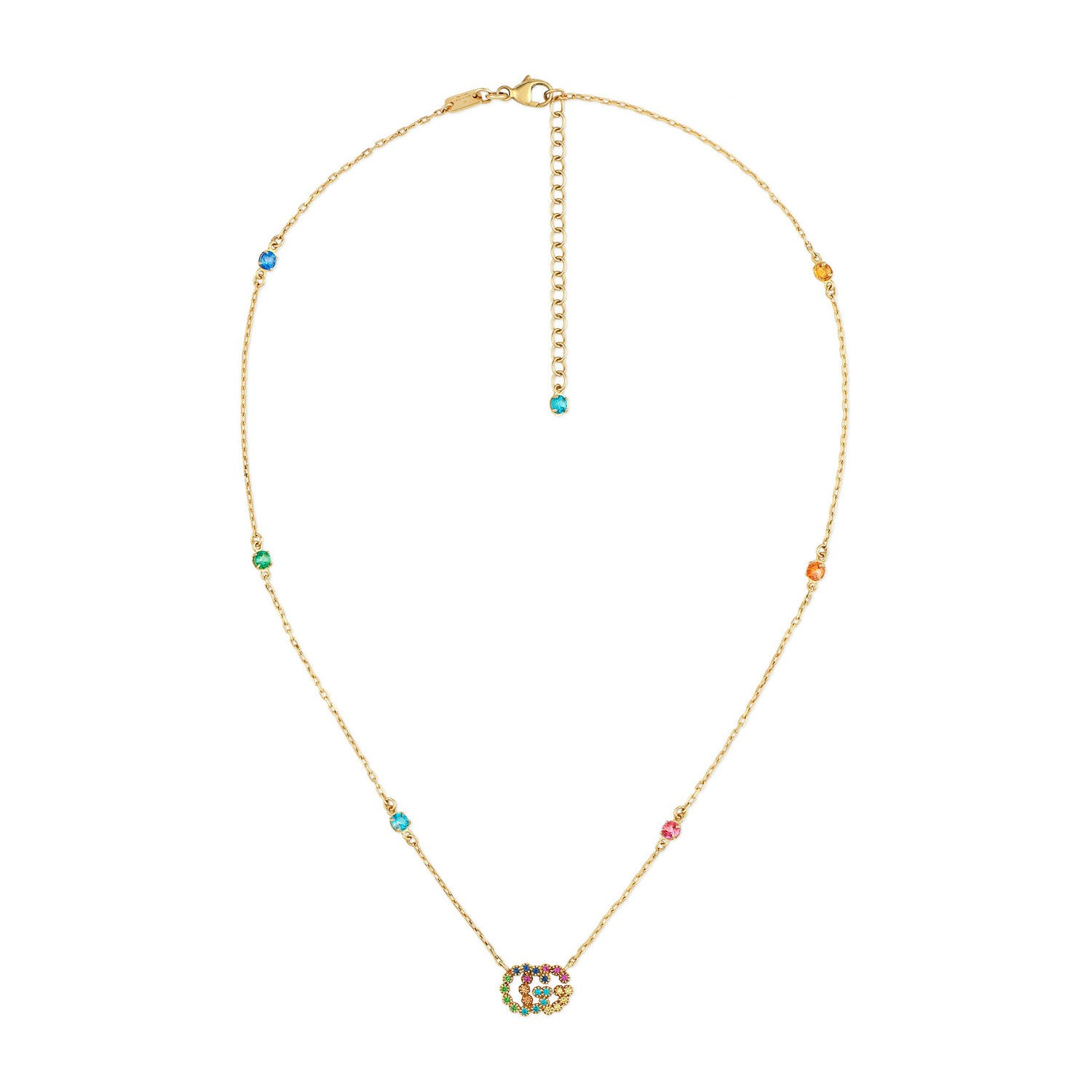 Gucci GG Running 18ct Yellow Gold Multi Colour Stone Necklace