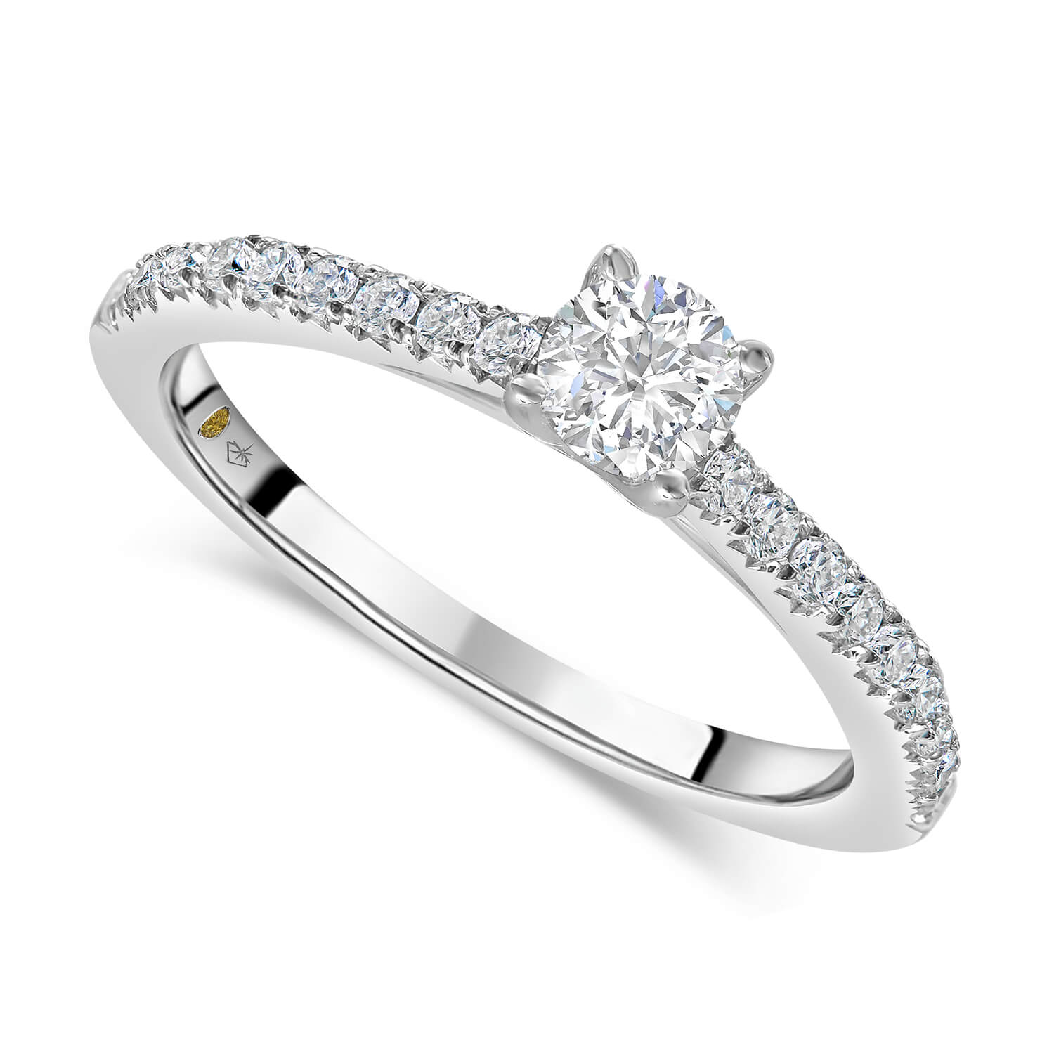 Northern Star 0.43ct Diamond 18ct White Gold Shoulders Ring