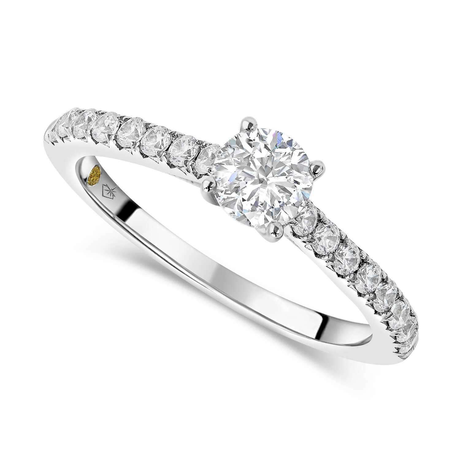 Northern Star 18ct White Gold Solitaire with Shoulders 0.50 Carat Diamond Ring