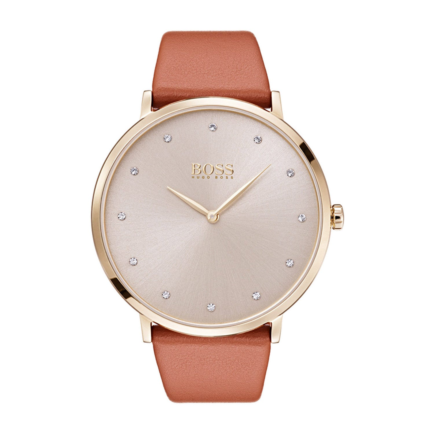 Hugo Boss Jillian Champagne and Brown Leather Ladies Watch