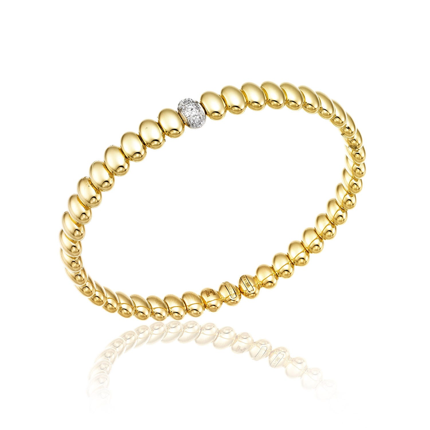 Chimento 18ct Yellow Gold and Diamond Armillas Collection Acqua Bangle Bracelet