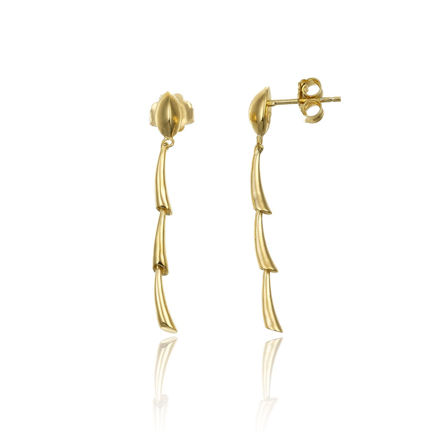 Chimento 18ct Yellow Gold Bamboo Collection Liberty Drop Earrings