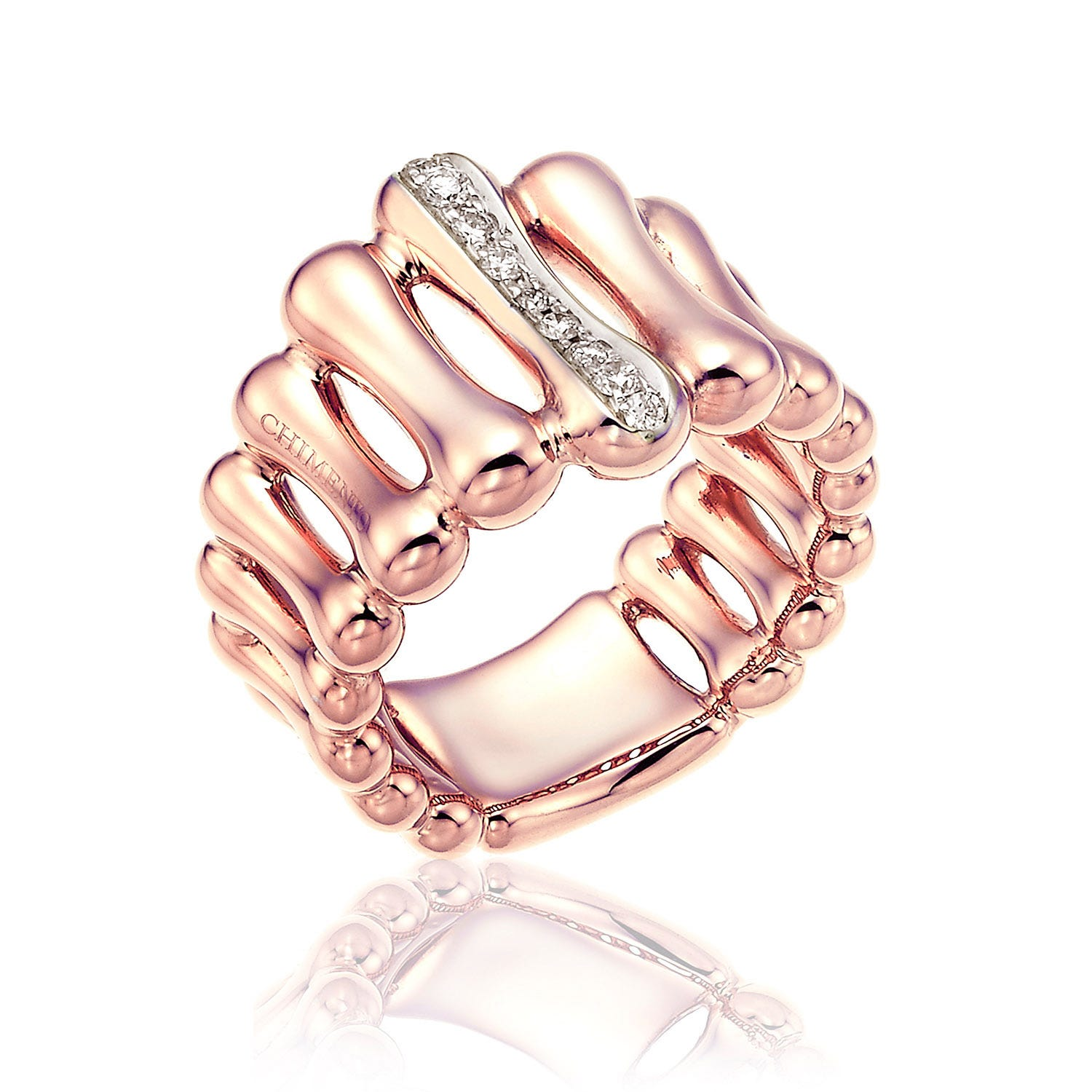 Chimento 18ct Rose Gold and Diamond Bamboo Collection Ring