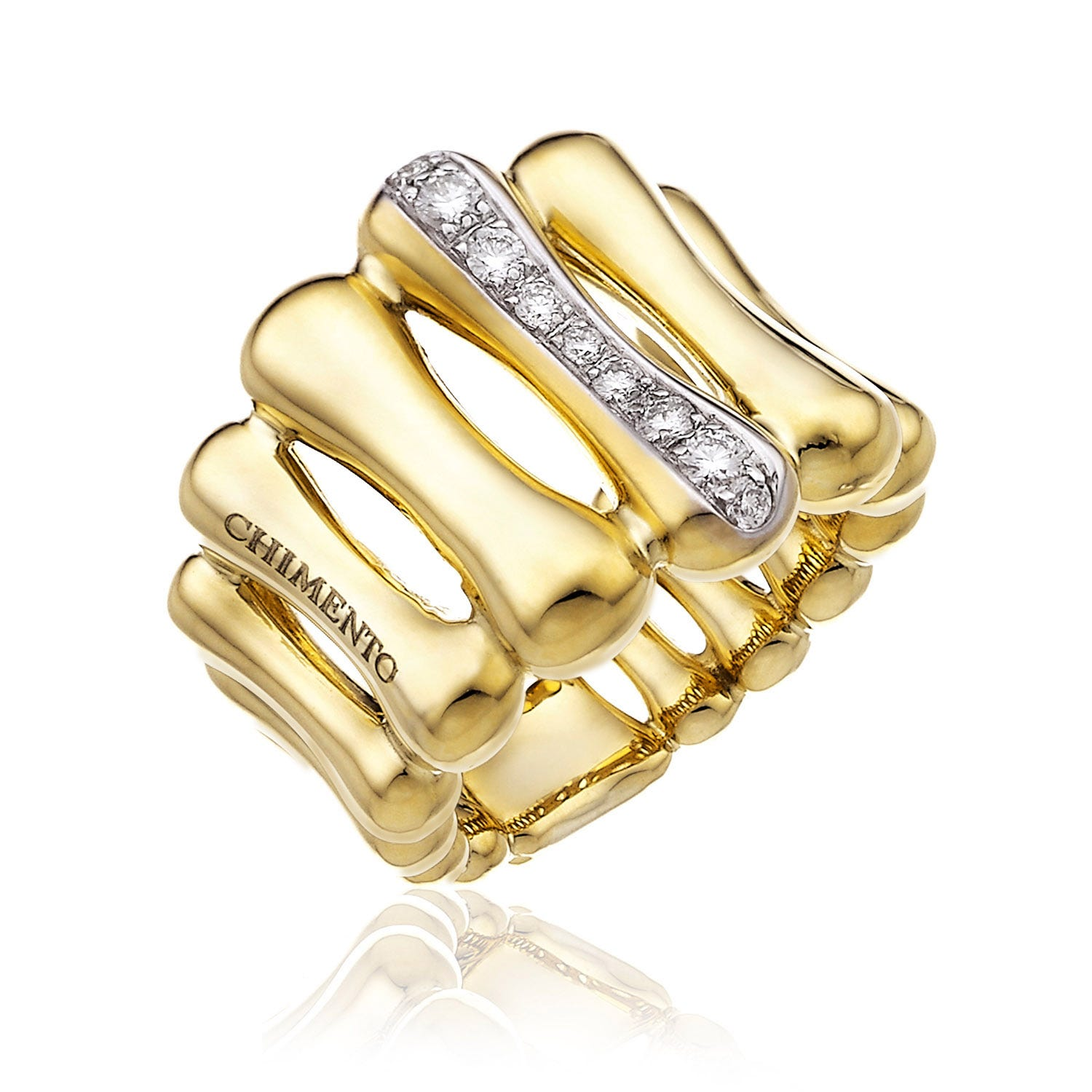 Chimento 18ct Yellow Gold and Diamond Bamboo Collection Ring