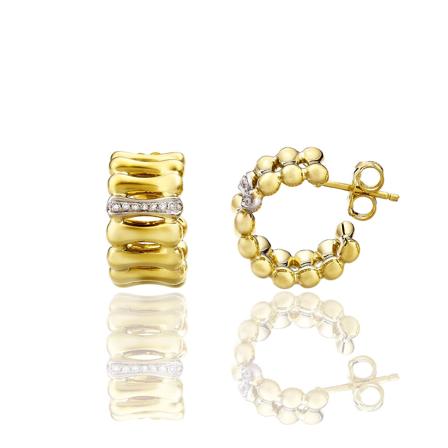 Chimento 18ct Yellow Gold and Diamond Bamboo Collection Hoop Earrings