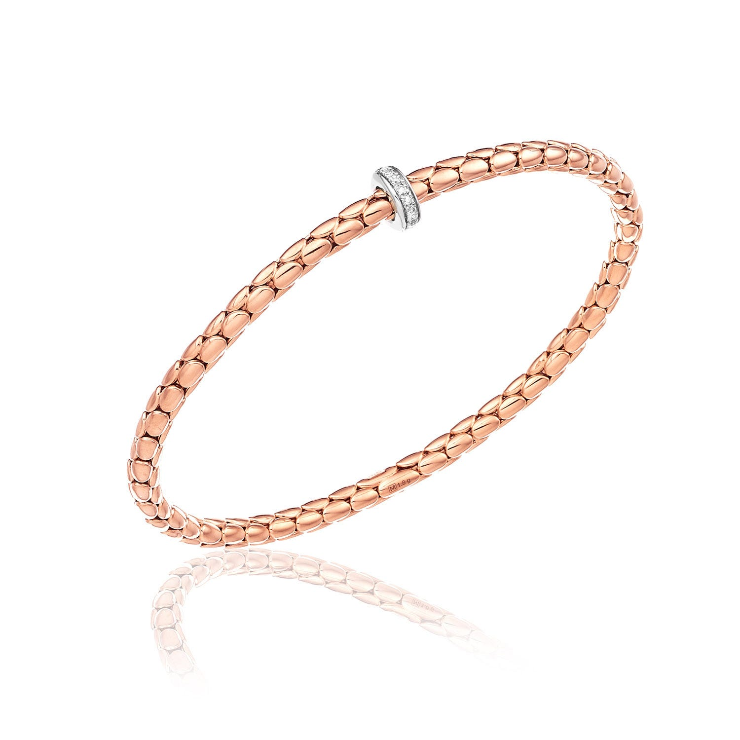 Chimento 18ct Rose Gold and Diamond Stretch Spring Thin Bracelet