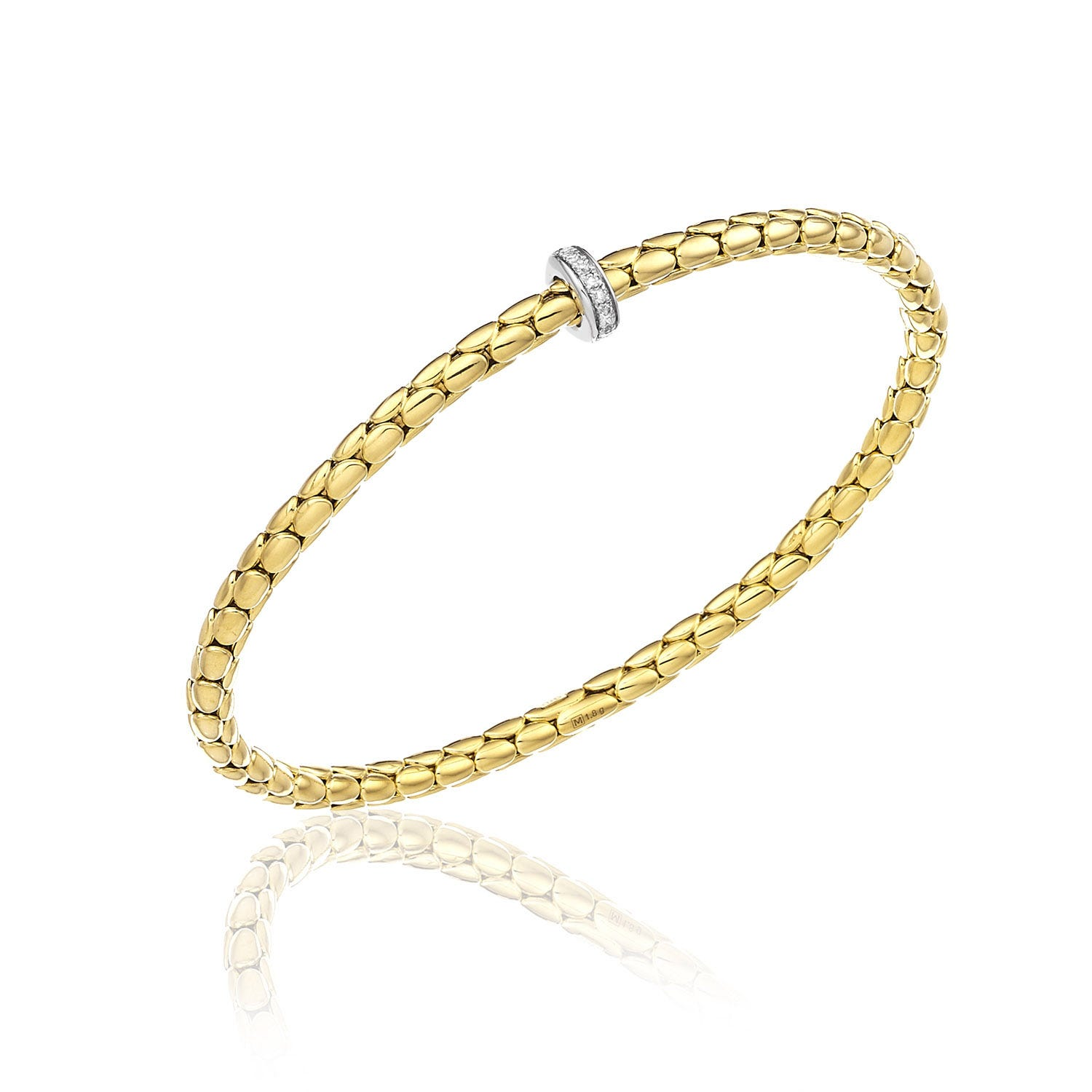 Chimento 18ct Yellow Gold and Diamond Stretch Spring Thin Bracelet