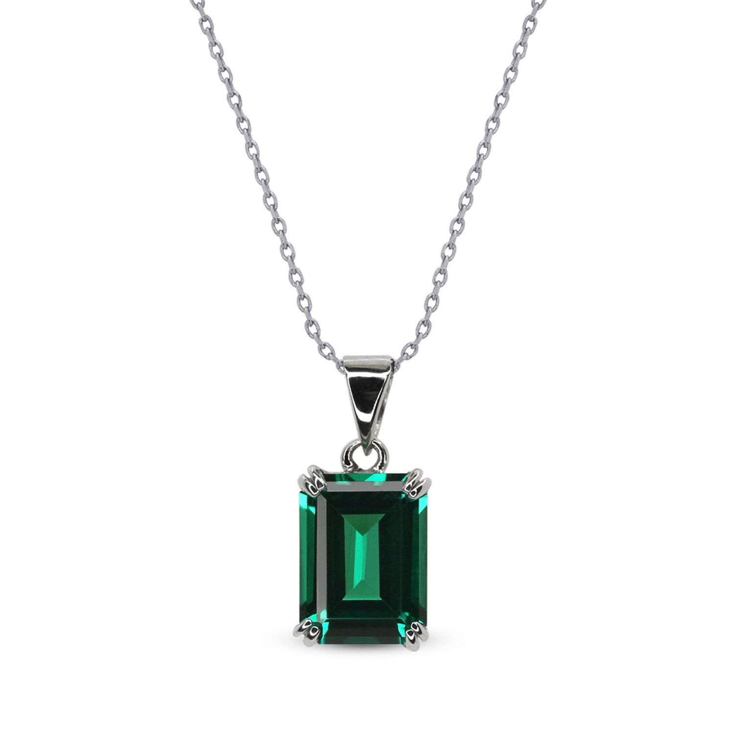 CARAT* London 9ct White Gold Emerald Green Pendant