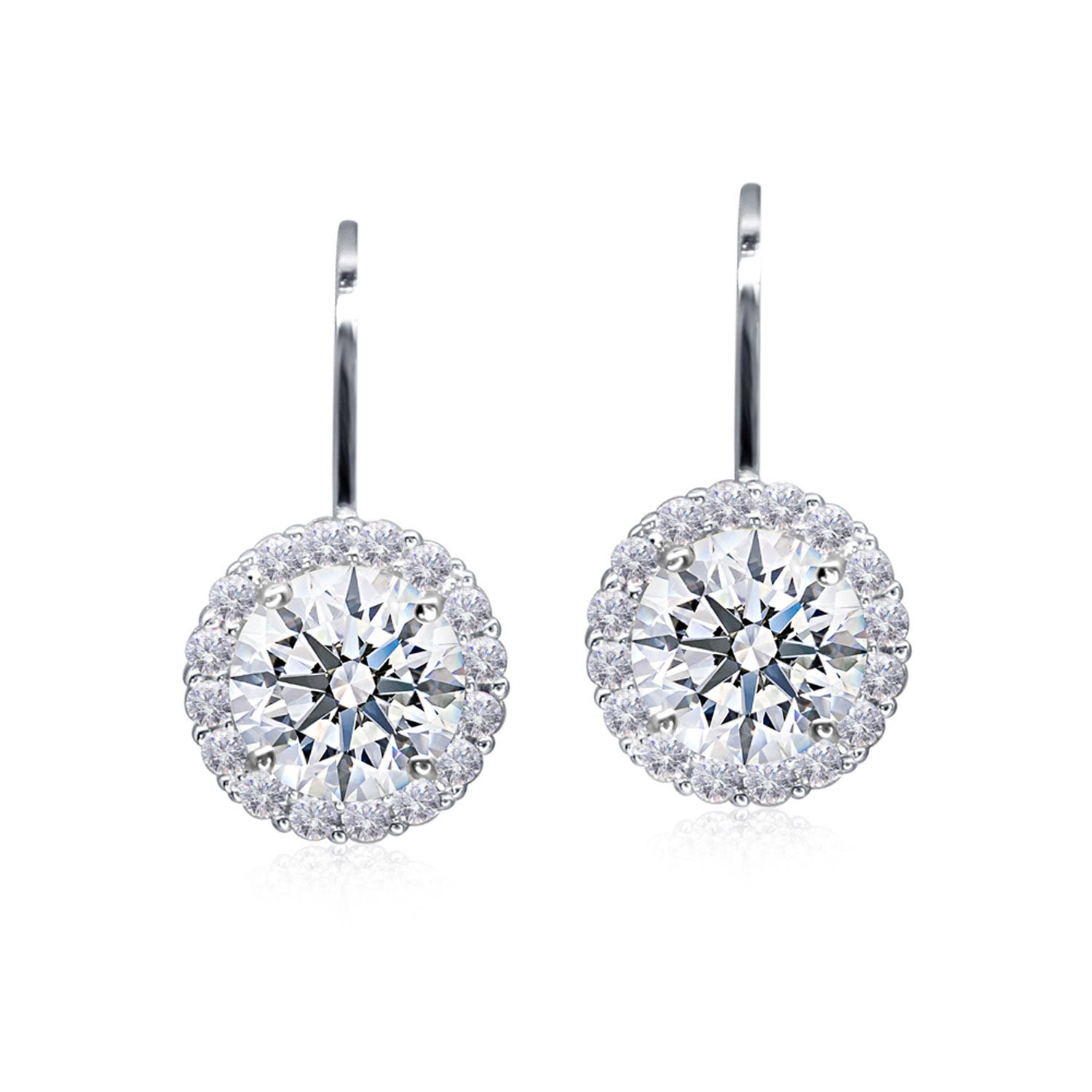 CARAT* London Sterling Silver Lever Back Border Set Drop Earrings Featuring A 6.5mm Centre Stone