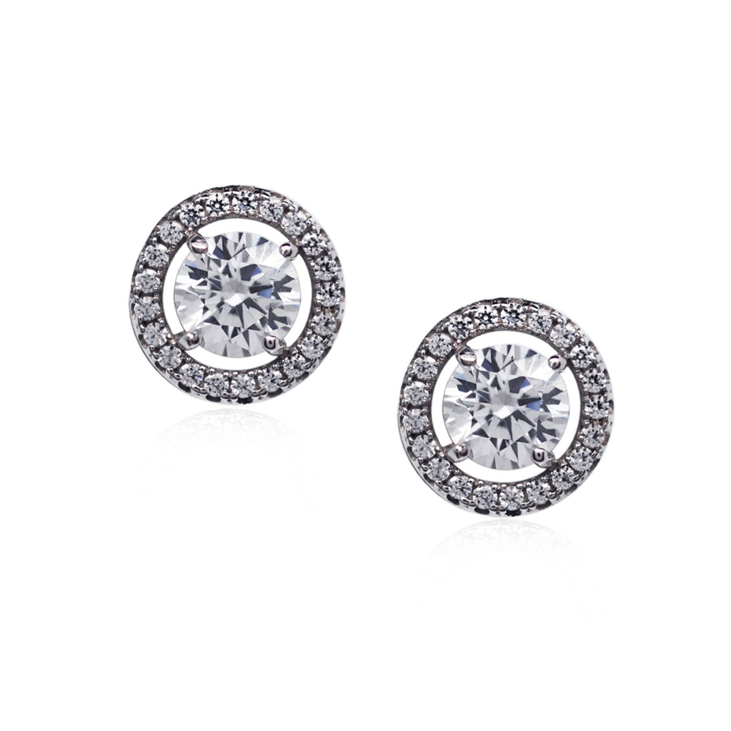 CARAT* London Sterling Silver Border Set Stud Earrings Featuring A 6.75mm Brilliant Cut Centre Stone